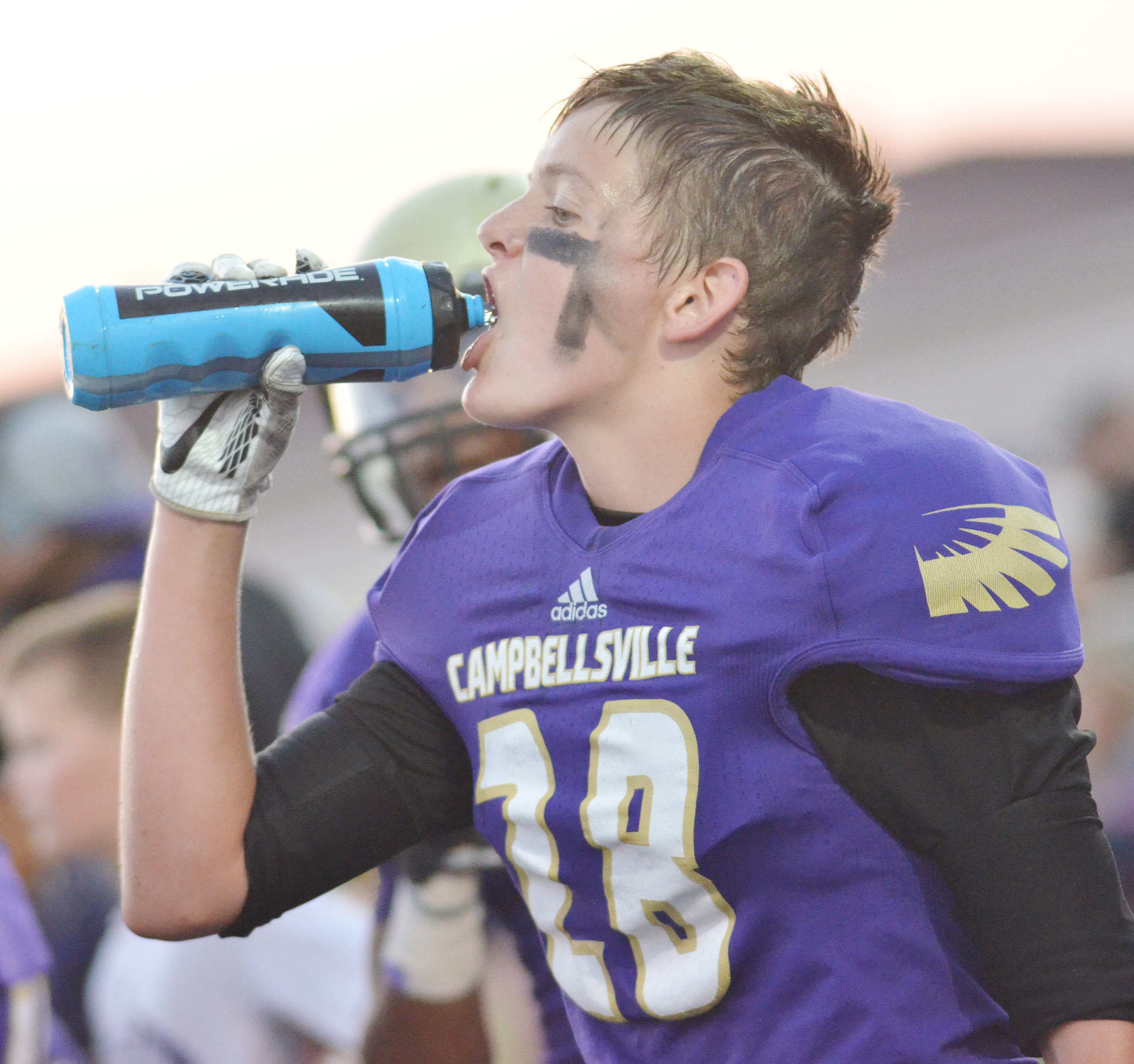CHS sophomore Blake Allen drinks water during a timeout.