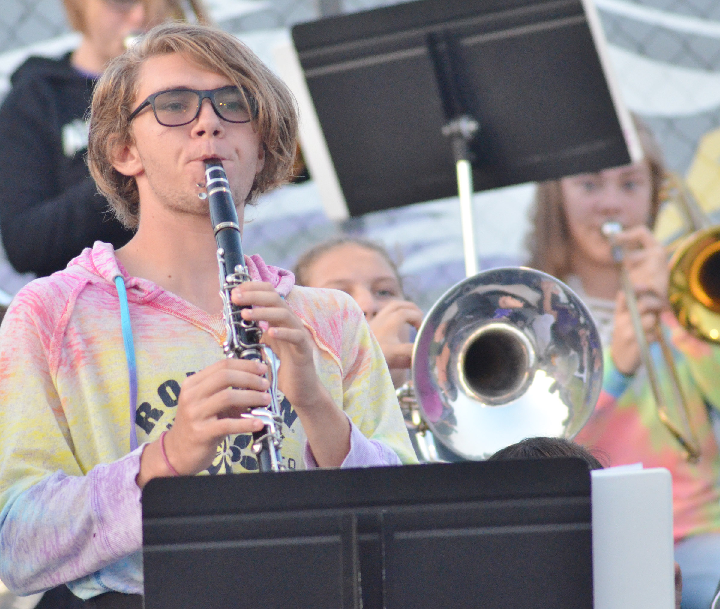 CHS senior Christian Berry plays clarinet with the pep band.