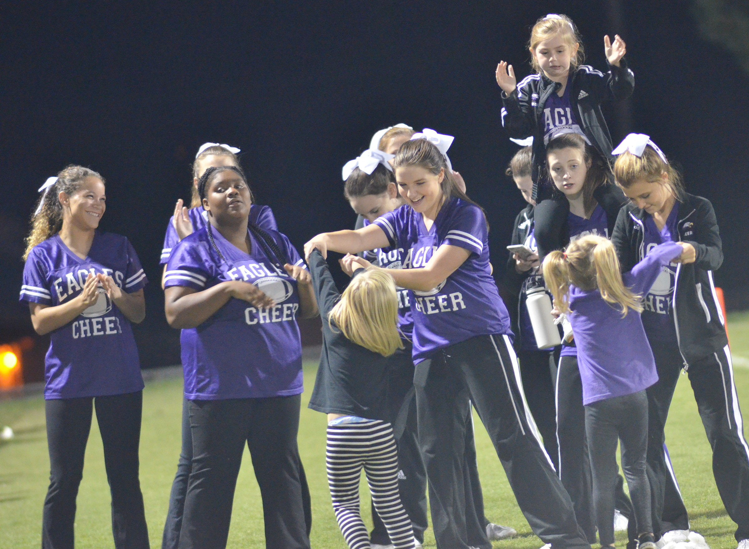CHS cheerleaders dance during halftime.