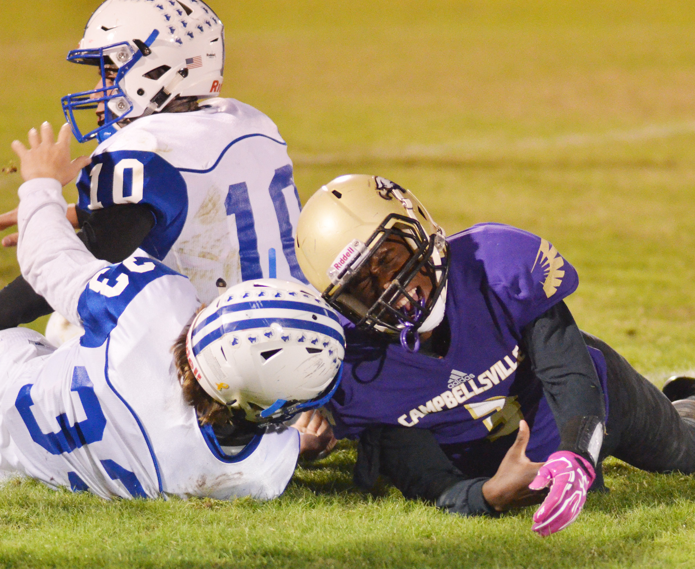 CHS sophomore Malachi Corley lands after a play.