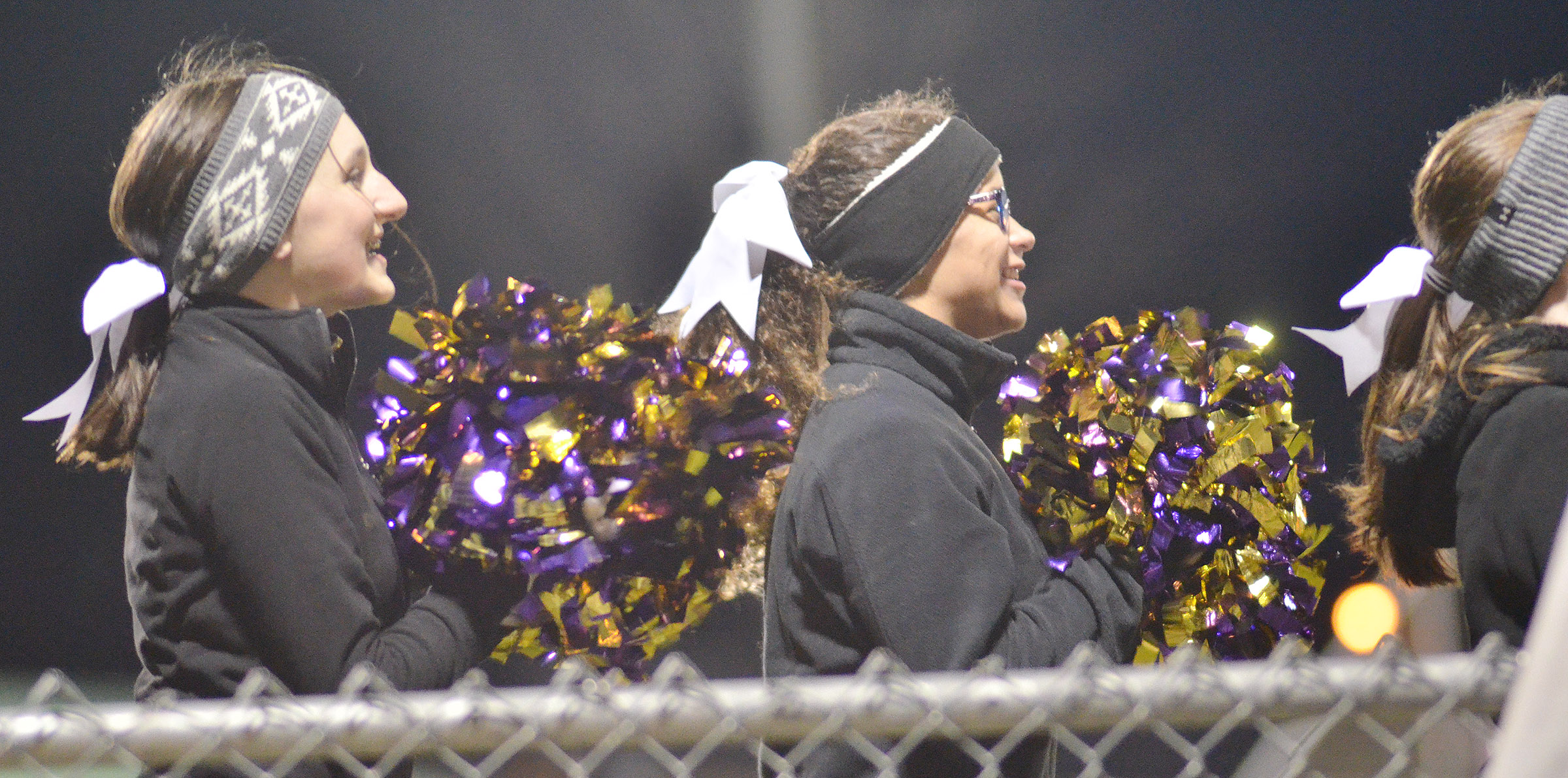 CHS cheerleaders Zoe McAninch, at left, and Taliyah Hazelwood, sophomores, cheer for the Eagles.