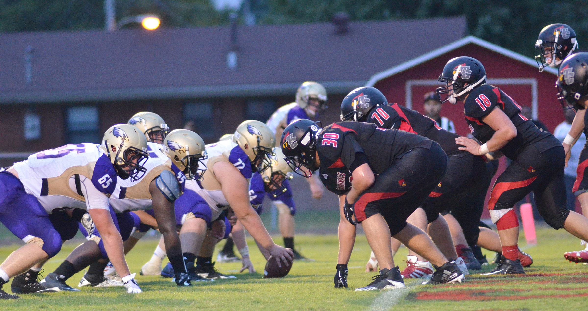 CHS offensive line players get ready for the snap.