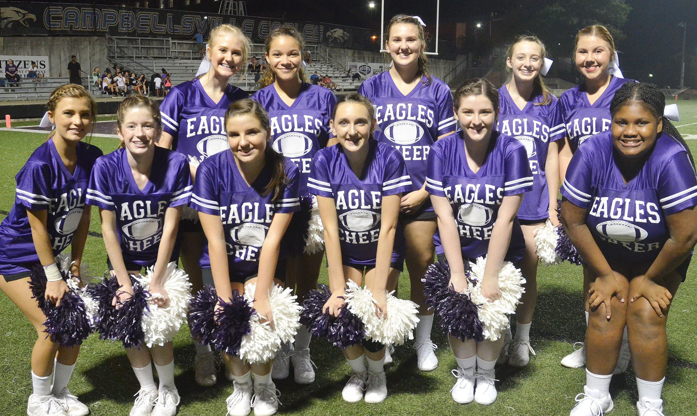 CHS cheerleaders cheer for the Eagles. From left, front, are freshman Carly Adams, sophomores Gracyne Hash, Sydney Wilson, Zoe McAninch, Alli Wilson and Jakyia Mitchell. Back, sophomores Isabella Osborne, Taliyah Hazelwood and Haley Morris, junior Caleigh Bright and sophomore Lauryn Agathen.