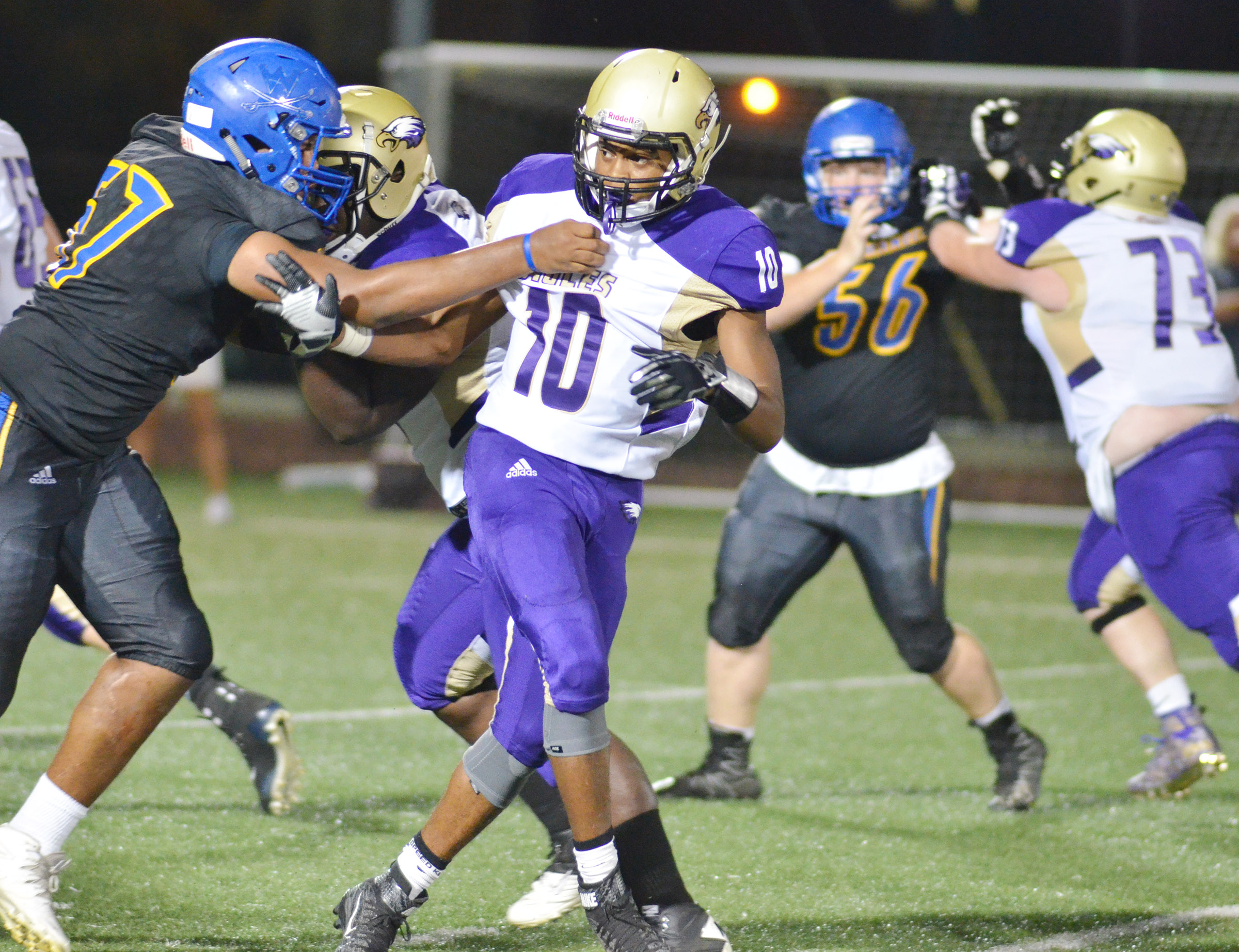 CHS senor Devonte Cubit tackles.