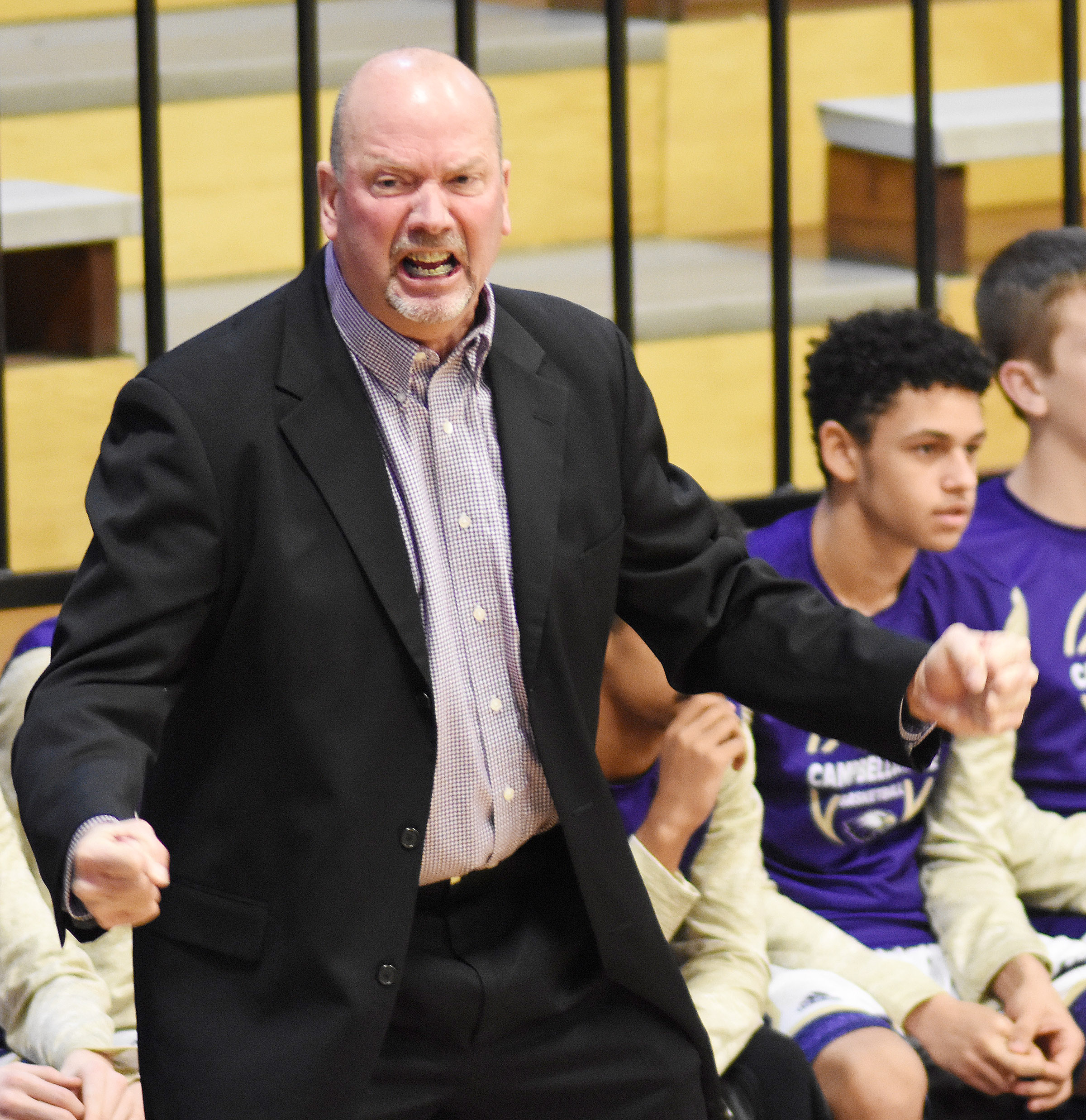 CHS boys' basketball head coach Tim Davis reacts to a call.