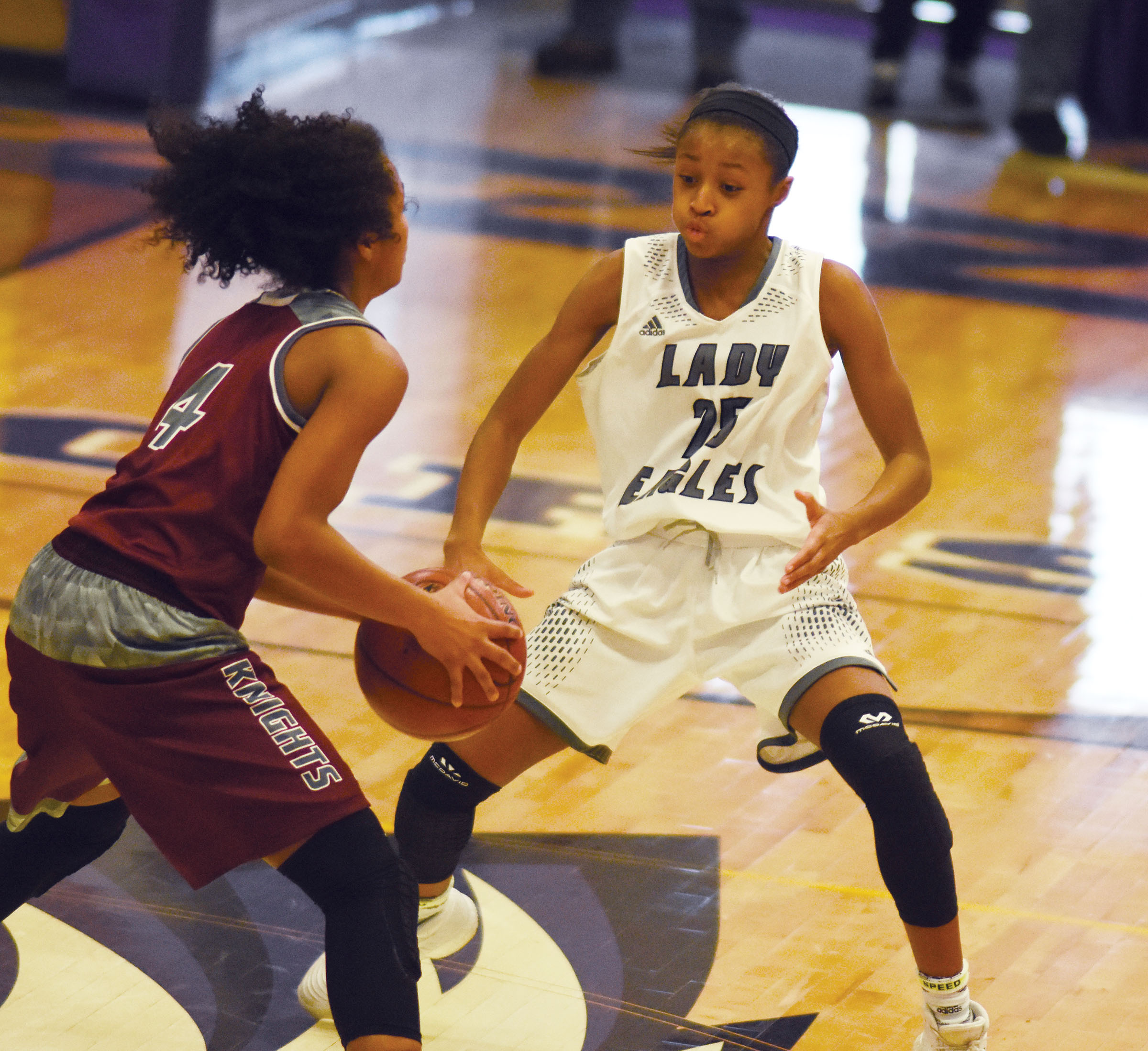 Campbellsville Middle School eighth-grader Bri Gowdy watches the ball.