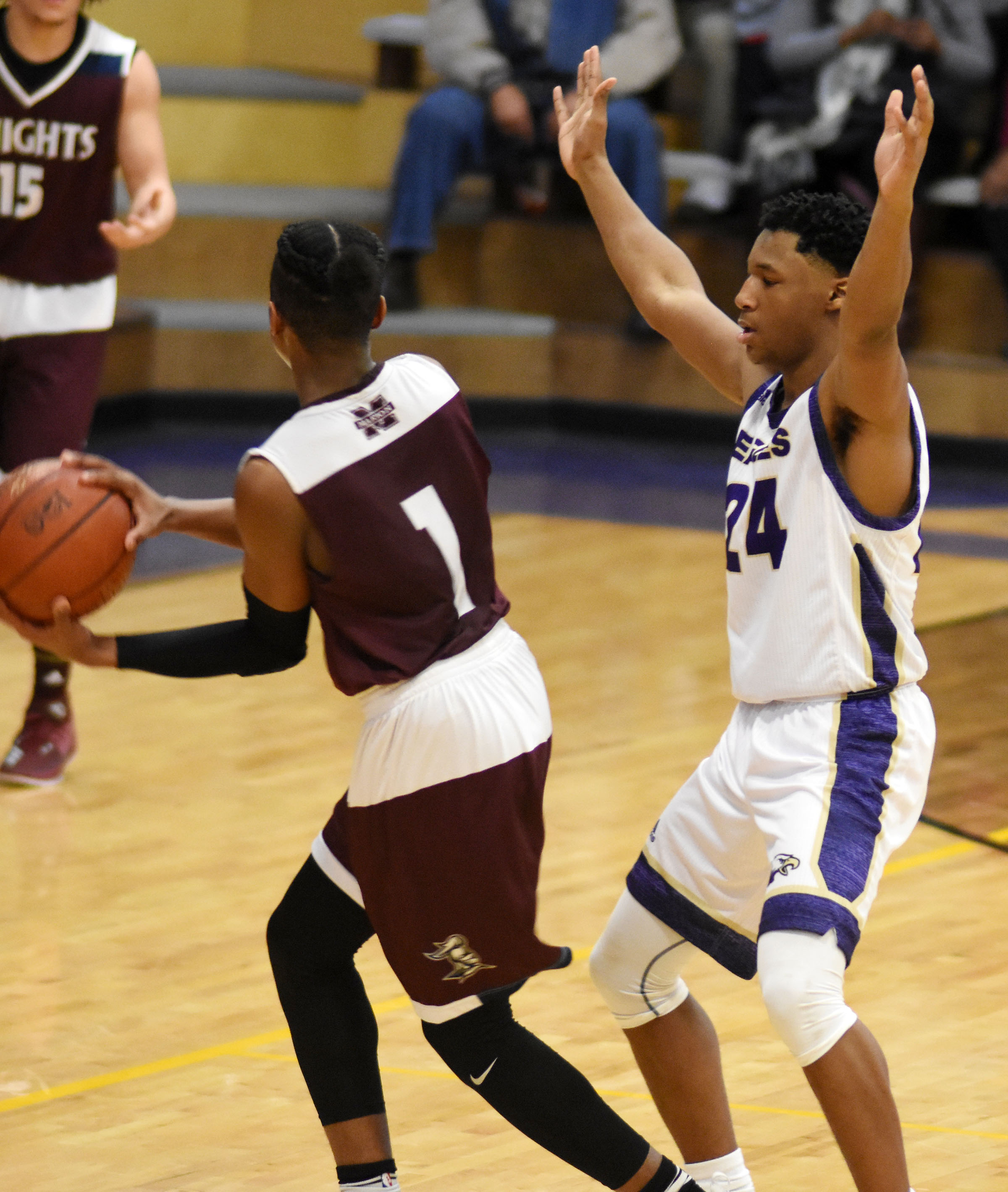 CHS junior Taj Sanders plays defense.