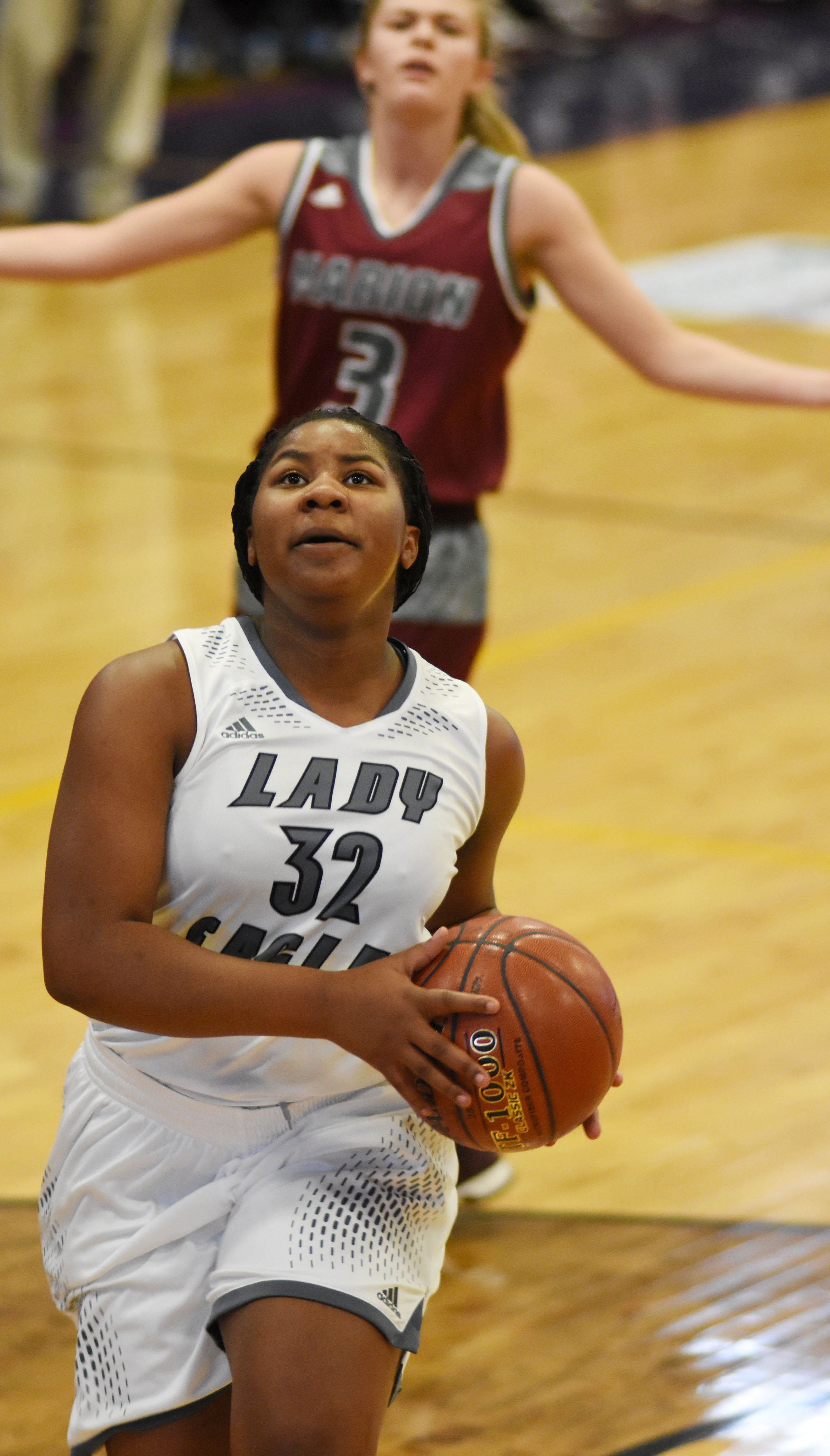 CHS senior Nena Barnett scores two points.