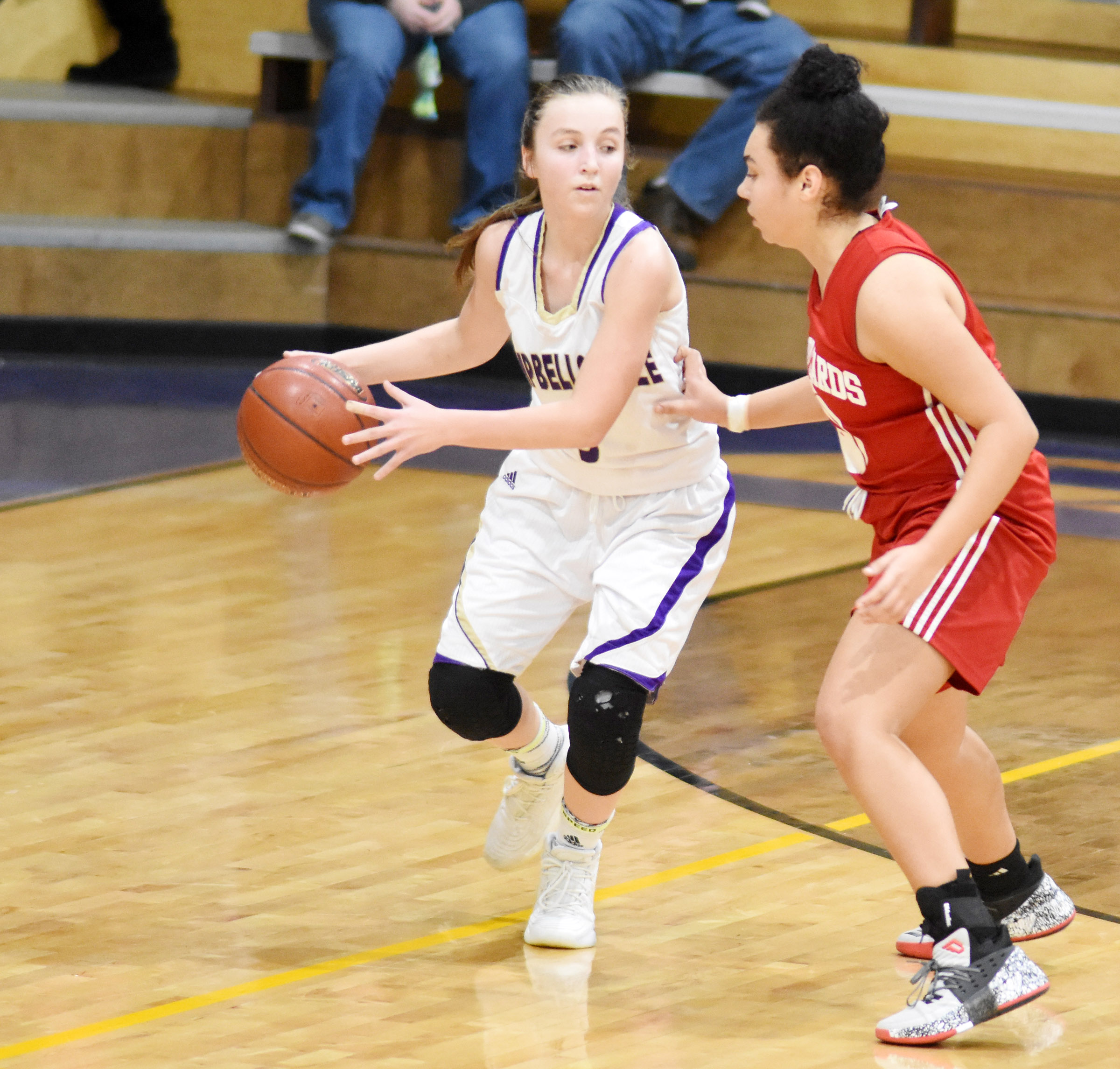 Campbellsville Middle School eighth-grader Lainey Watson dribbles.