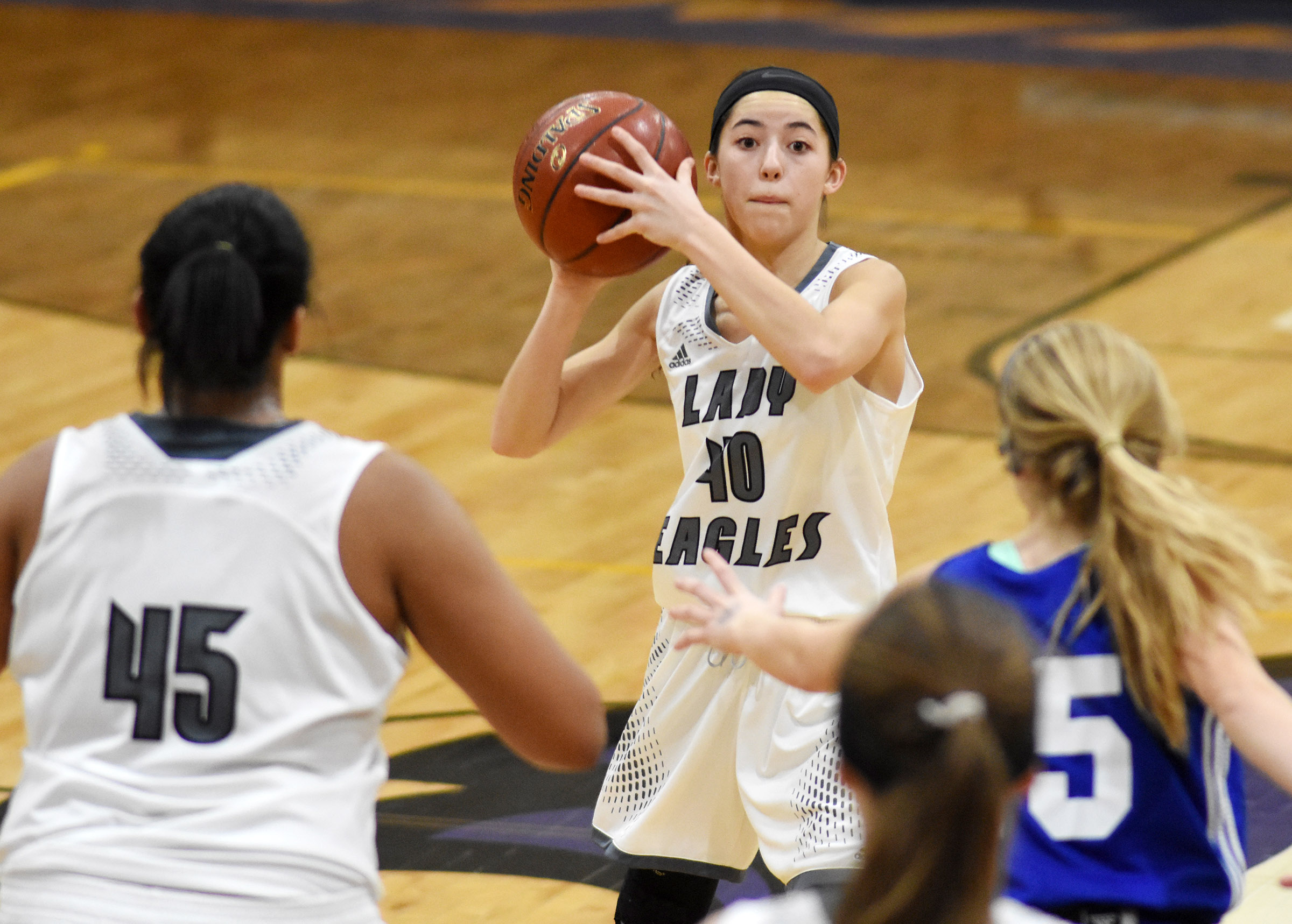 Campbellsville Middle School eighth-grader Kaylyn Smith looks to pass.
