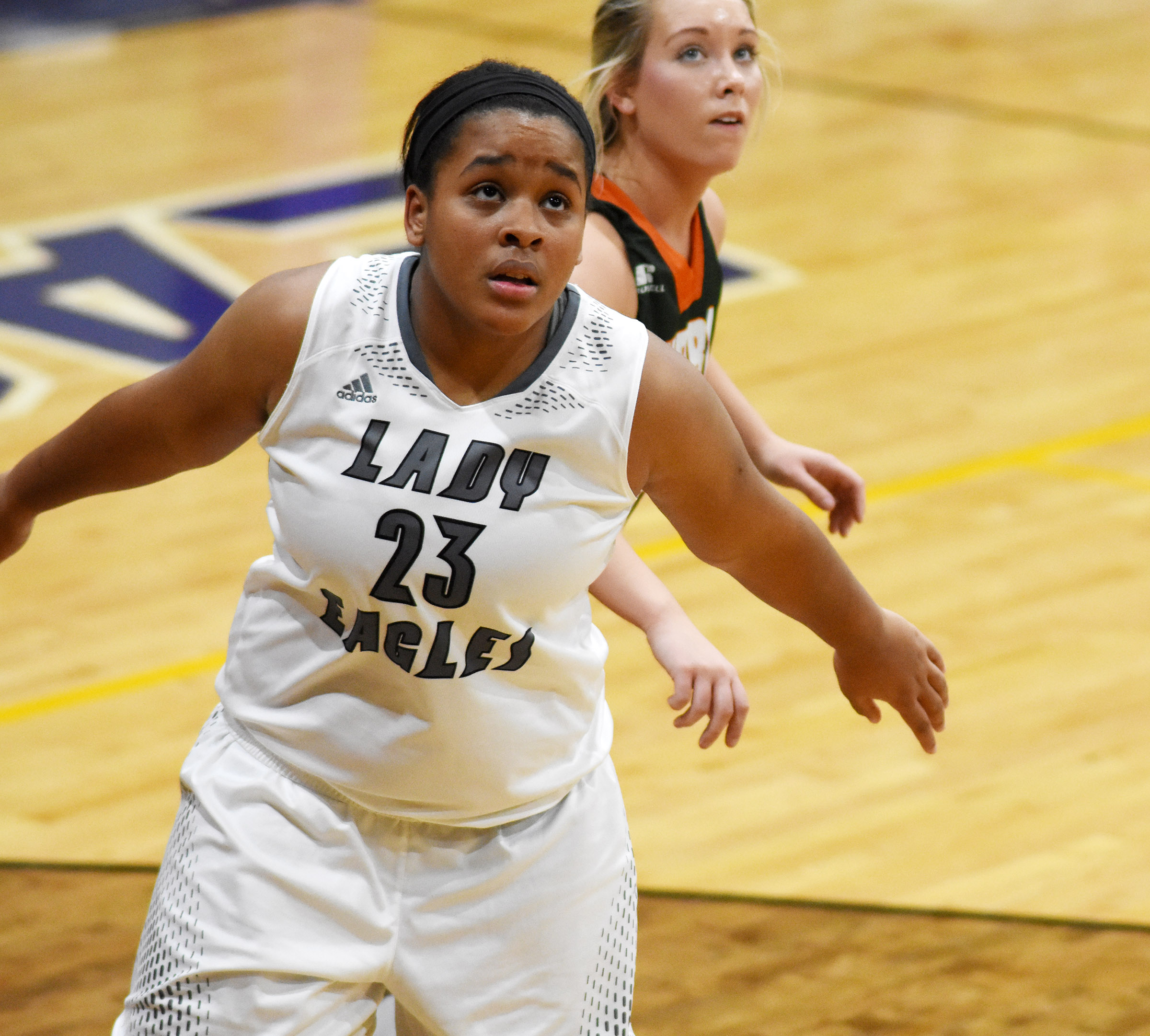CHS senior Kayla Young looks for a rebound.