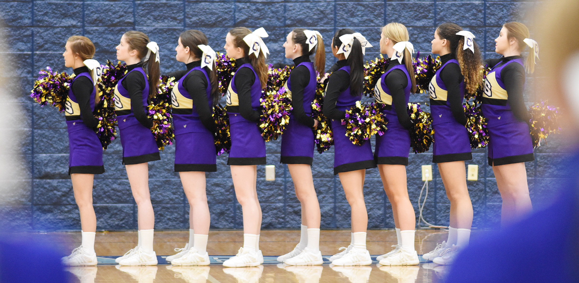 CHS cheerleaders stand for the National Anthem.