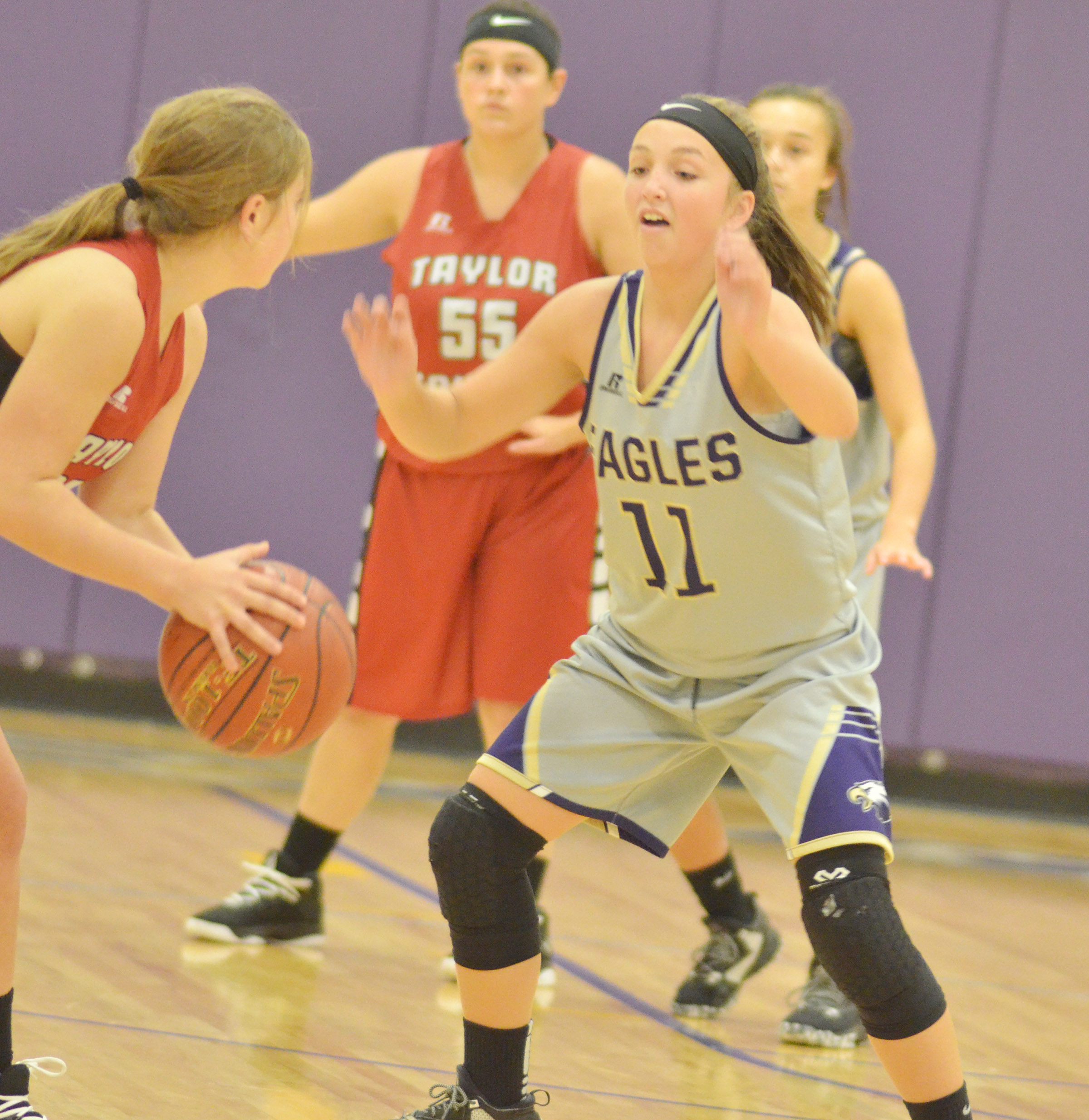 CMS eighth-grader Lainey Watson plays defense.
