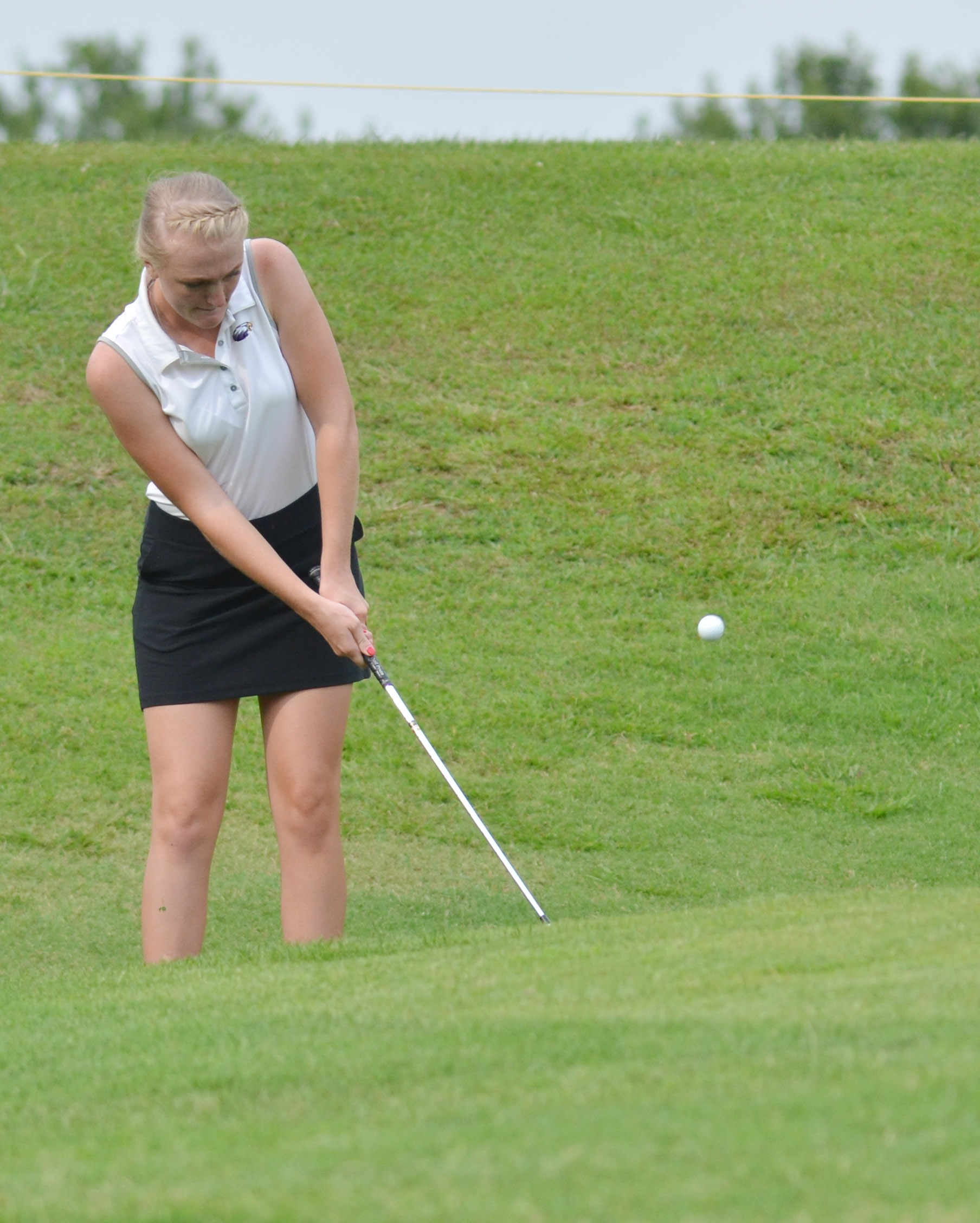 "CHS junior Abbie Dicken chips the ball onto the green in the All ""A"" region tournament."