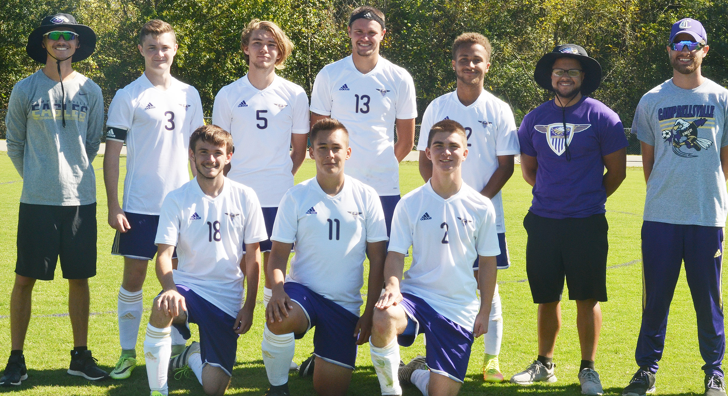 This year's CHS senior soccer players were recently honored. They are, from left, front, Jackson Hunt, Cody Davis and Cass Kidwell. Back, head coach Bradley Harris, Bryce Richardson, Christian Berry, Logan Cole, Ethan Lay and assistant coaches Malique Spaulding and Matt Schmuck.