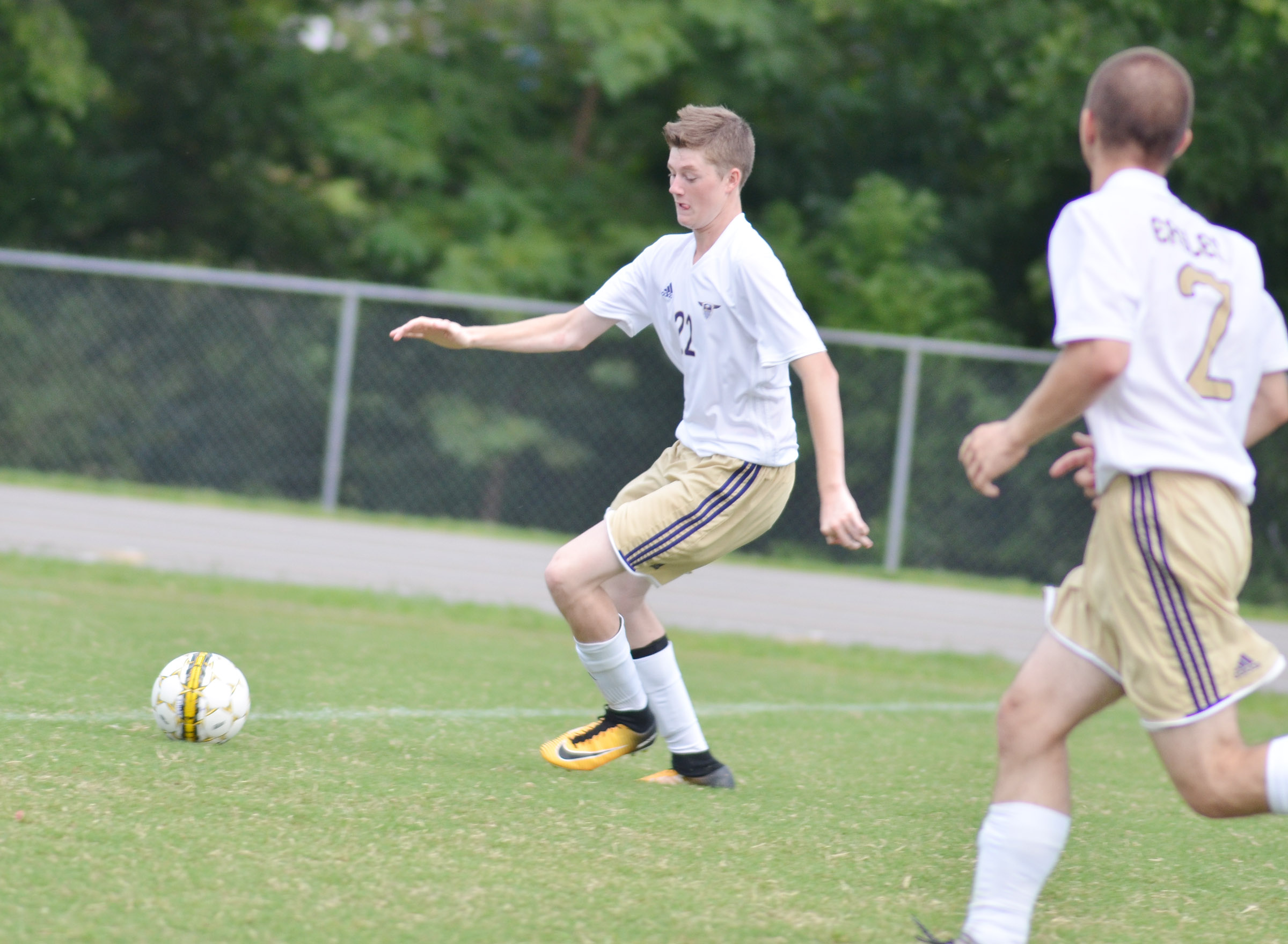 CHS freshman Tristin Faulkner kicks the ball.