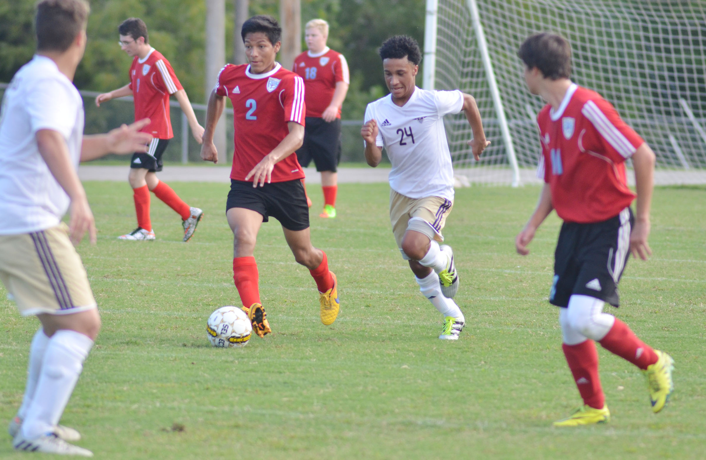 CHS sophomore Daniel Johnson runs to the ball.