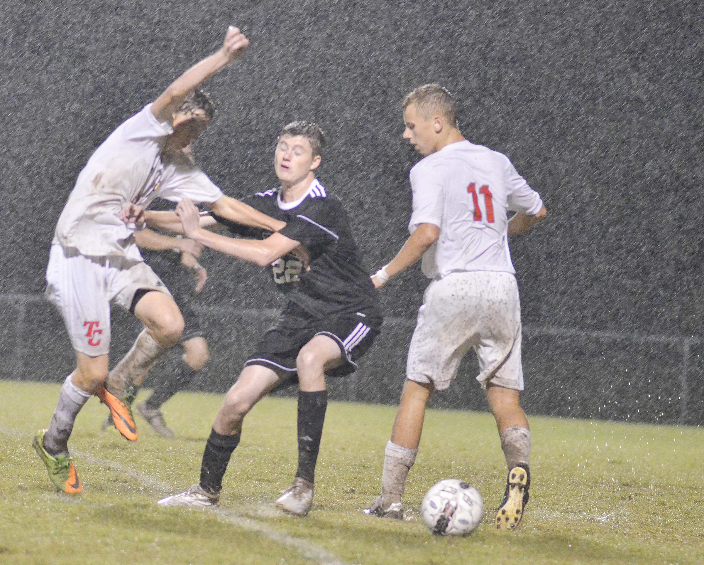CHS freshman Tristin Faulkner fights for the ball.