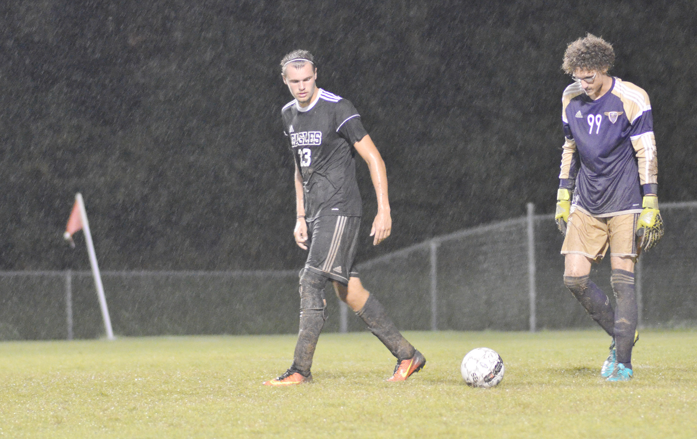 CHS senior Logan Cole, at left, and sophomore Brennon Wheeler get set to kick the ball.