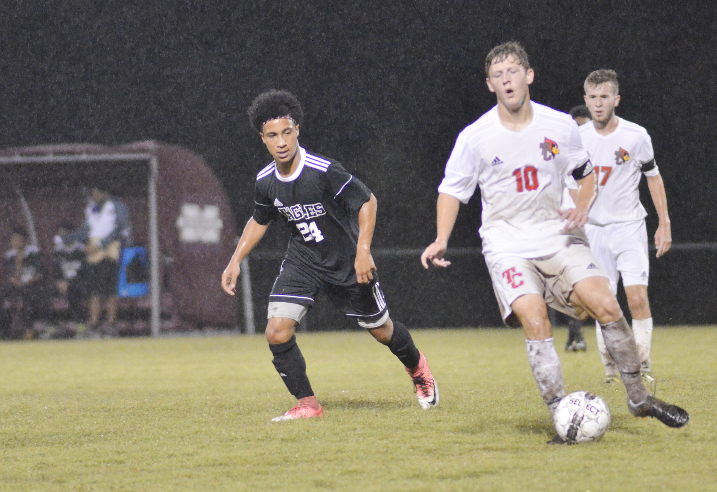 CHS junior Daniel Johnson plays defense.