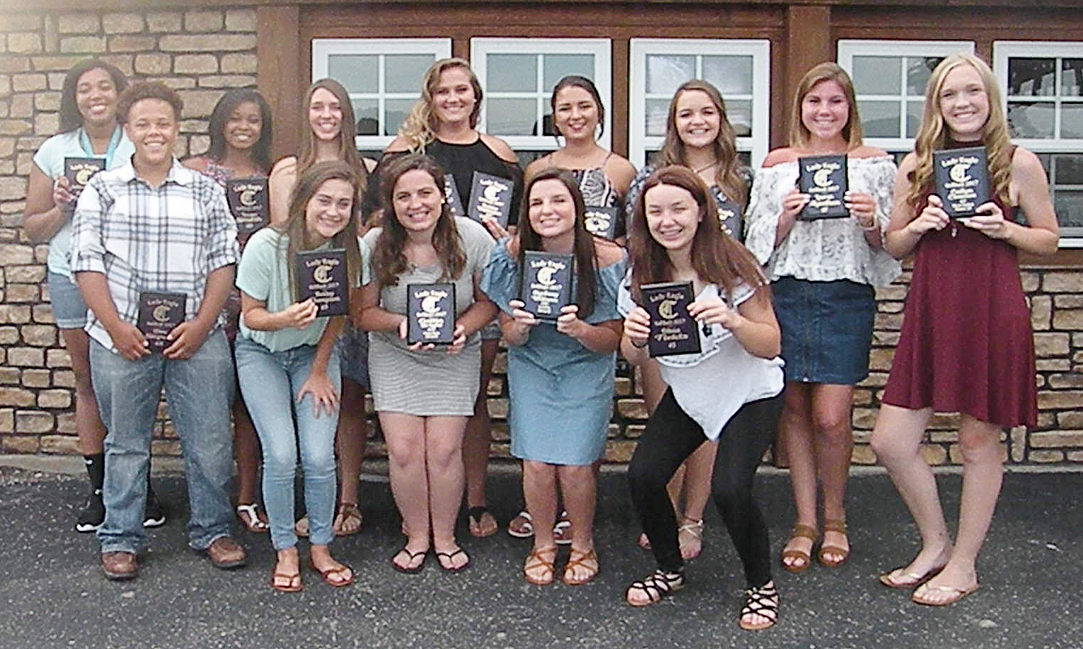 CHS softball players were recently honored at a banquet for their hard work and dedication during this past season. They are, from left, front, junior Dee Simpson, sophomore Bailey Thompson, senior Caitlin Bright, sophomore Sydney Wilson and eighth-grader Olivia Fields. Back, seniors Malaya Hoskins and Vonnea Smith, freshman Abi Wiedewitsch, Brenna Wethington and Kailey Morris, who graduated in May, freshman Kenzi Forbis, sophomore Lauryn Agathen and freshman Catlyn Clausen. Absent from the photo are sophomore Shallan Philpott and seniors Kayla Young, Kiyah Barnett and Nena Barnett.