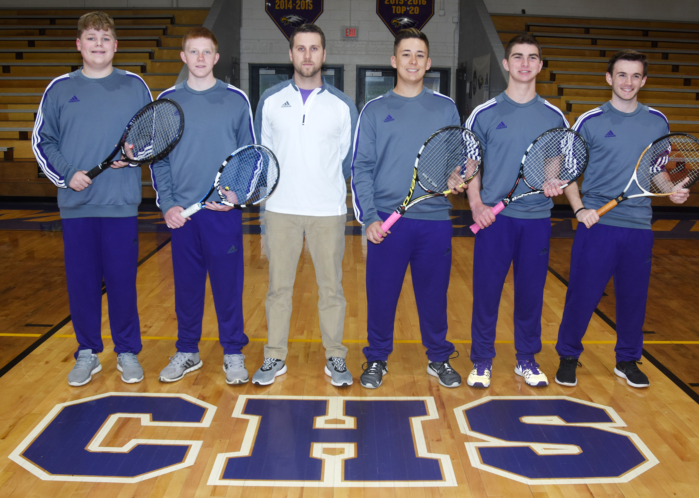 CHS boys' tennis team includes, from left, eighth-grader Blake Settle, sophomore Patrick Walker, coach Tyler Hardy and seniors Cody Davis, Cass Kidwell and Jackson Hunt.