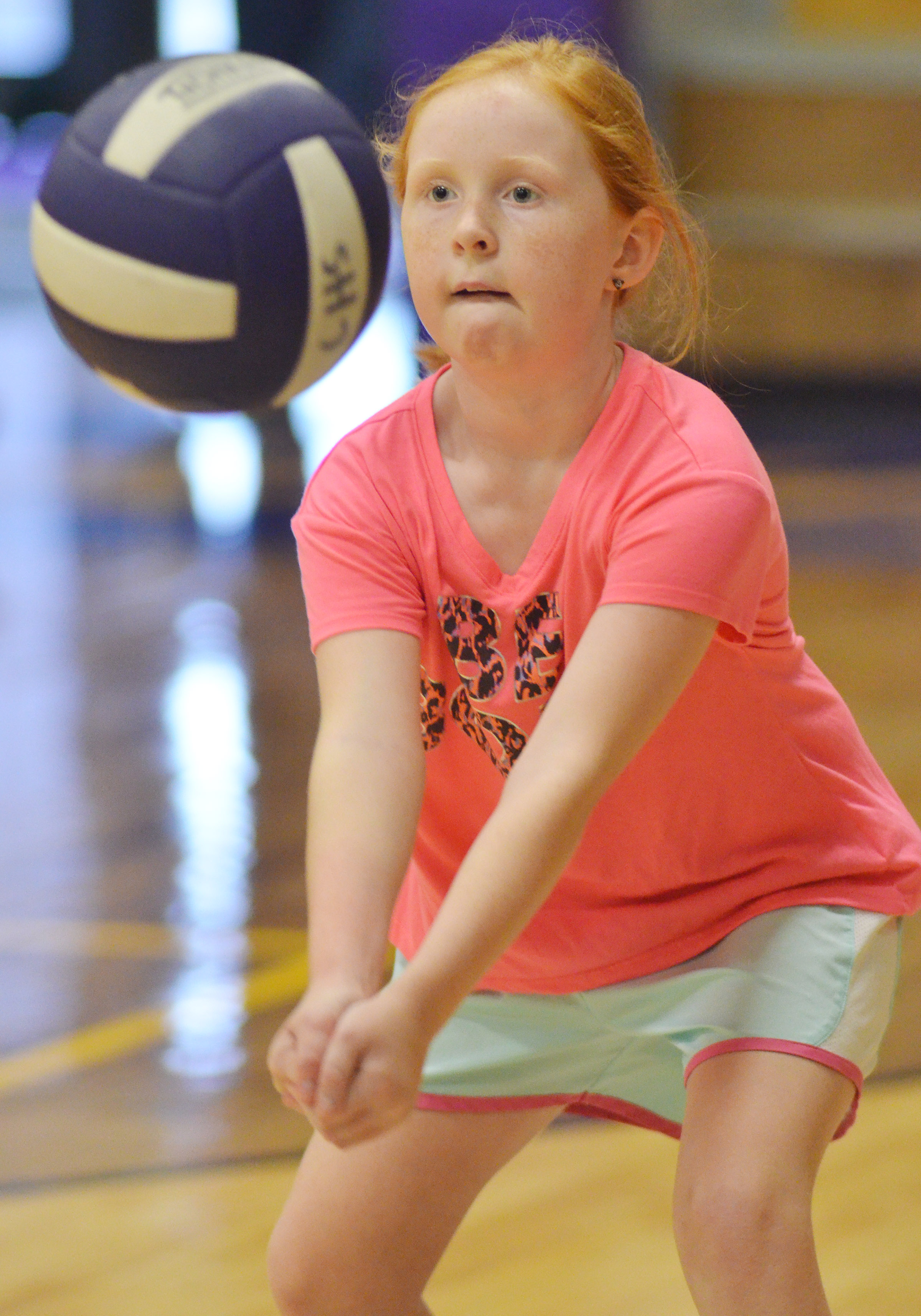 CES fourth-grader Nora Harris hits the ball.