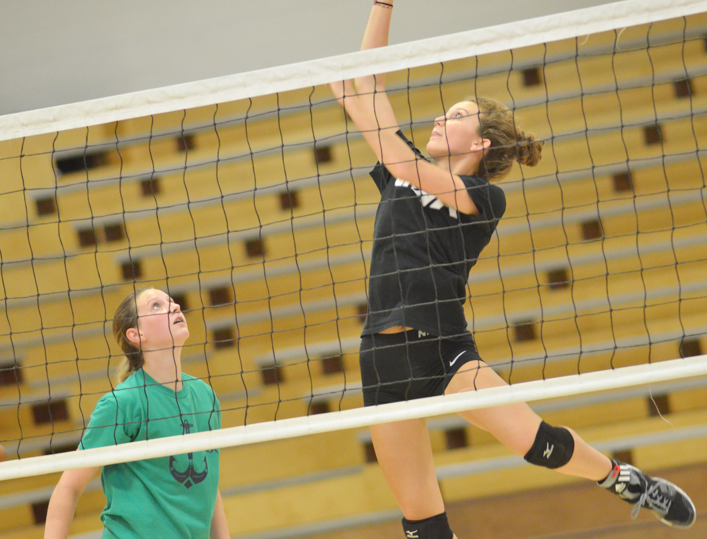 CHS junior Salena Ritchie jumps for the ball during a scrimmage.