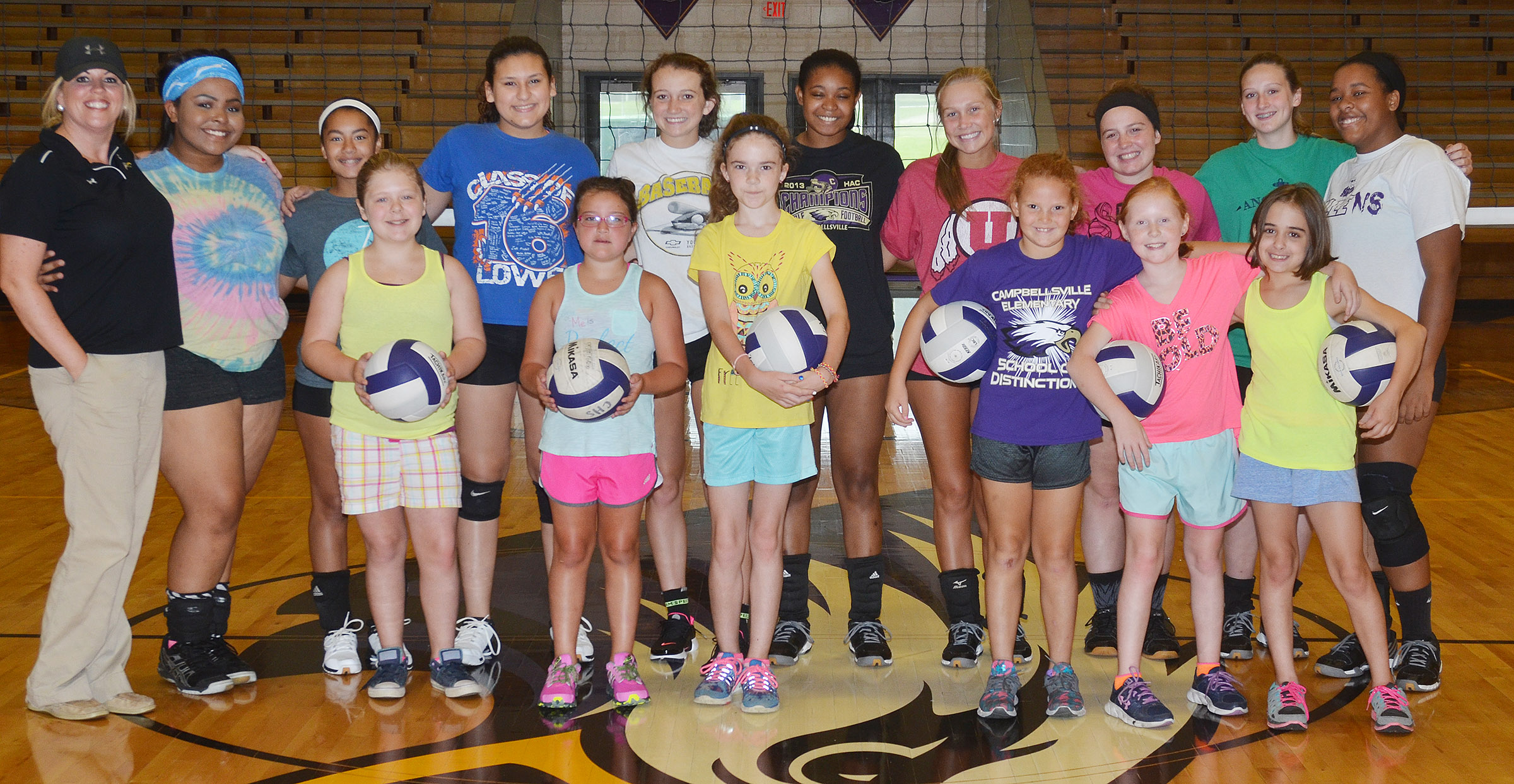 CHS Lady Eagle volleyball team hosted a camp recently, with about 10 students participating. Camp participants attending the morning session are, from left, front, CMS sixth-grader Alexis Sharp, Hadley Brasher, who attends school in Bowling Green, Alissa Hughes, a fourth-grader at Hodgenville Elementary School, CES third-grader Analeigh Foster, fourth-grader Nora Harris and fifth-grader Anna Floyd. In back are, from left, head coach Elisha Rhodes and CHS volleyball players junior Natalie Caldwell, freshmen Laci Hodgens and Anna Clara Moura, junior Salena Ritchie, senior Vonnea Smith, junior Tatem Wiseman, senior Caitlin Bright, freshman Zoie Sidebottom and senior Kayla Young. Absent from the photo is camper Amaya Anguiano, who is a fourth-grader at CES.
