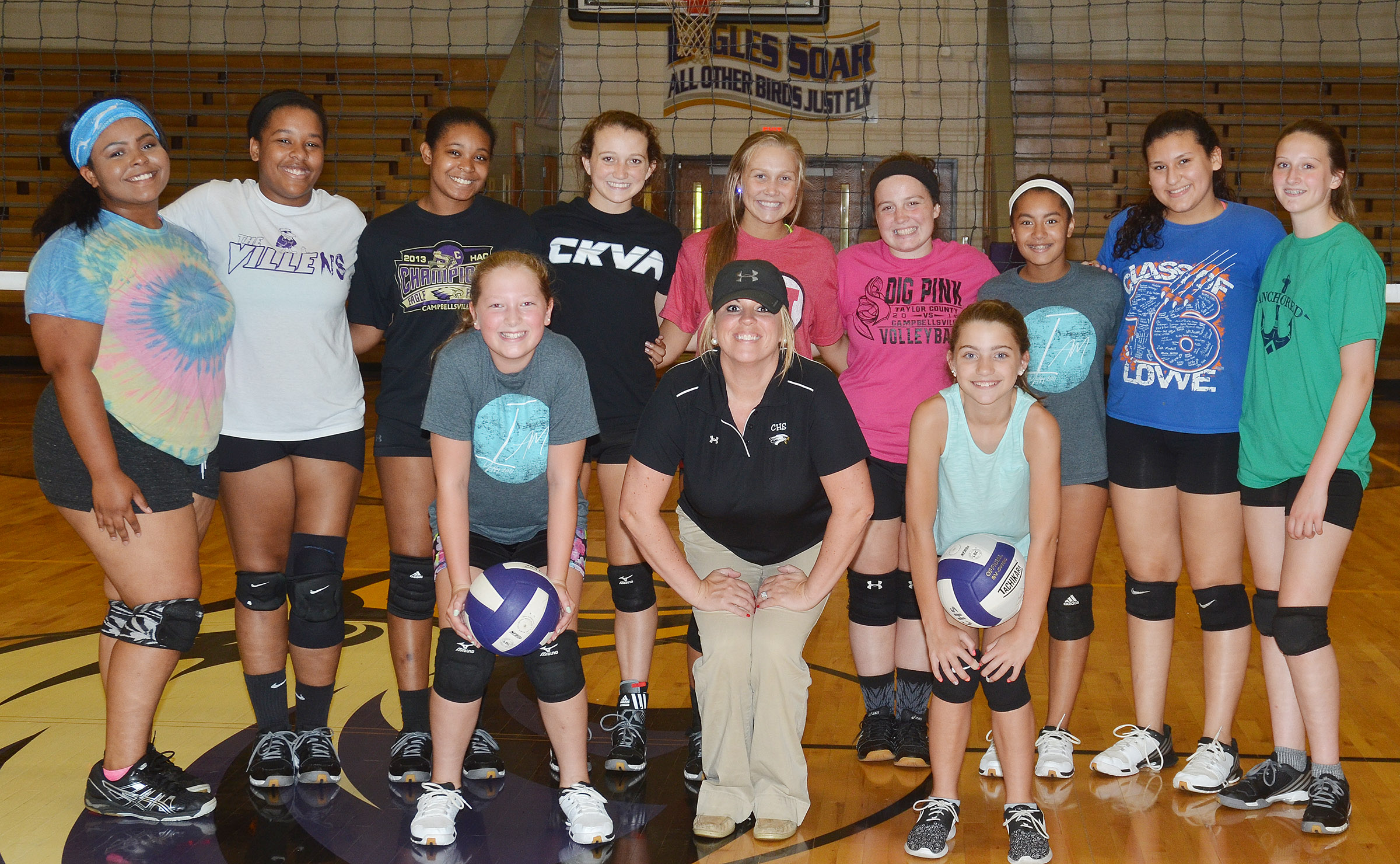CHS Lady Eagle volleyball team hosted a camp recently, with about 10 students participating. In front are campers Ava Hughes, a sixth-grader at CMS, and Braelynn Price, who attends Kentucky Christian Academy in Campbellsville, who attended the afternoon session, with head coach Elisha Rhodes. In back are CHS volleyball players junior Natalie Caldwell, seniors Kayla Young and Vonnea Smith, juniors Salena Ritchie and Tatem Wiseman, senior Caitlin Bright and freshmen Laci Hodgens, Anna Clara Moura and Zoie Sidebottom.