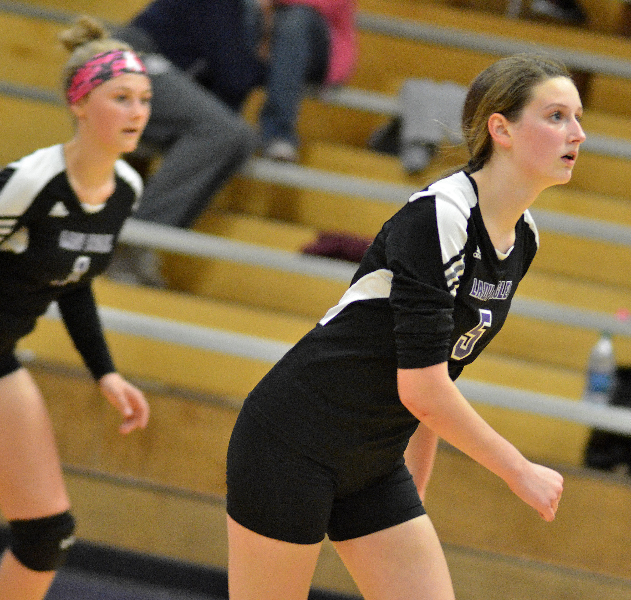 CHS freshman Zoie Sidebottom watches the ball.