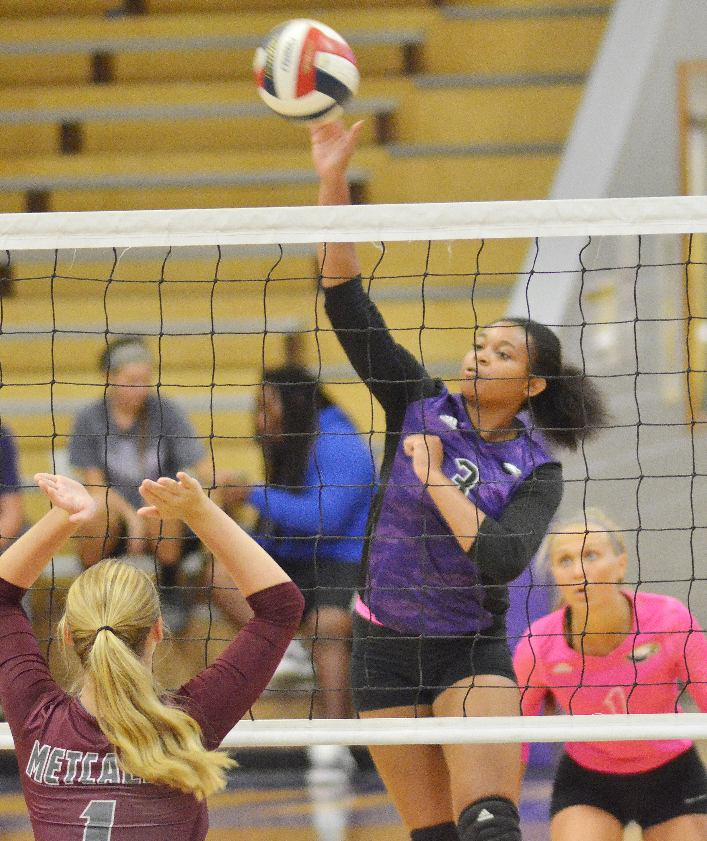 CHS senior Vonnea Smith hits the ball over the net.
