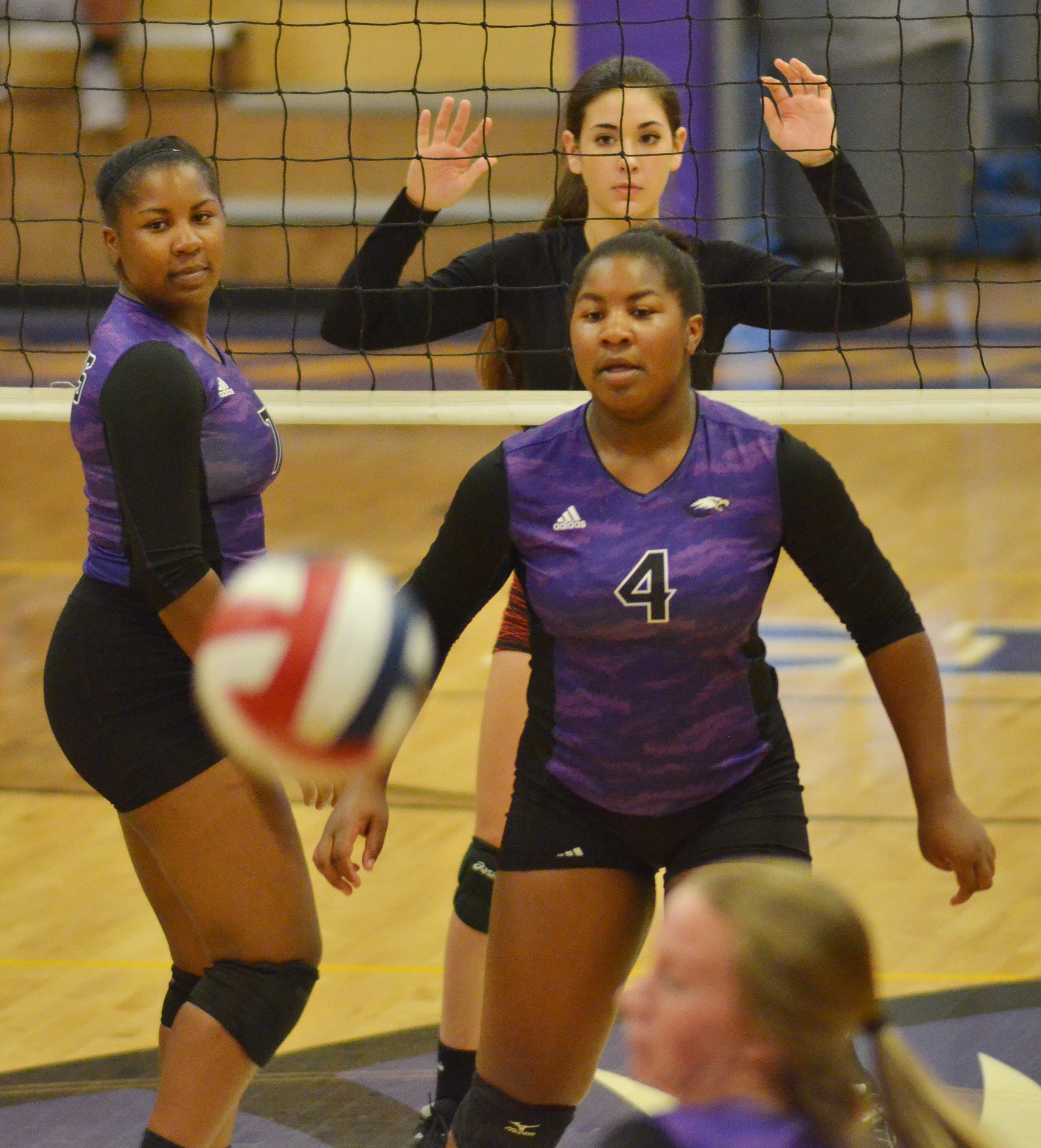 CHS seniors Kiyah Barnett, at left, and Nena Barnett watch the ball.