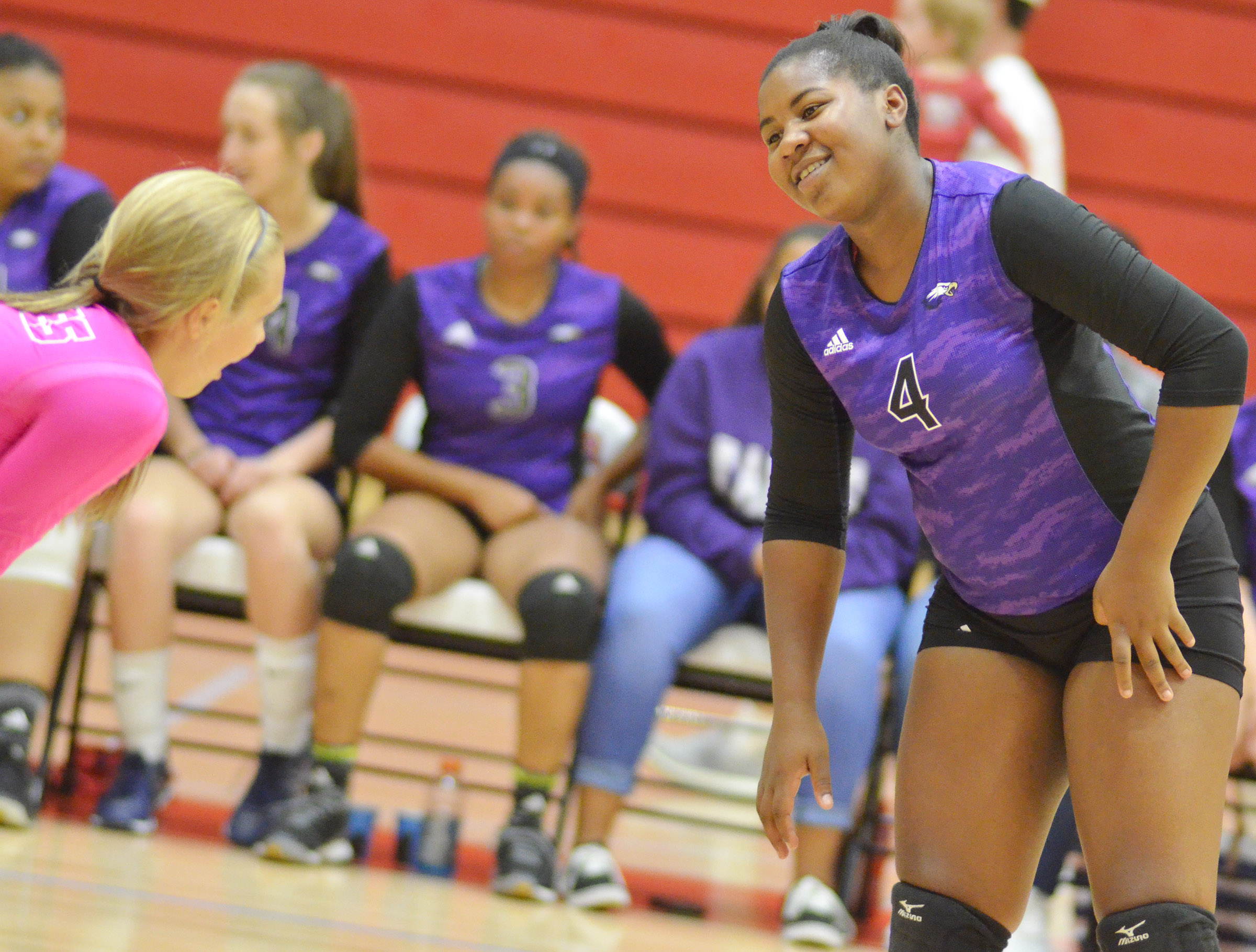 CHS senior Nena Barnett talks to junior Tatem Wiseman before a play.