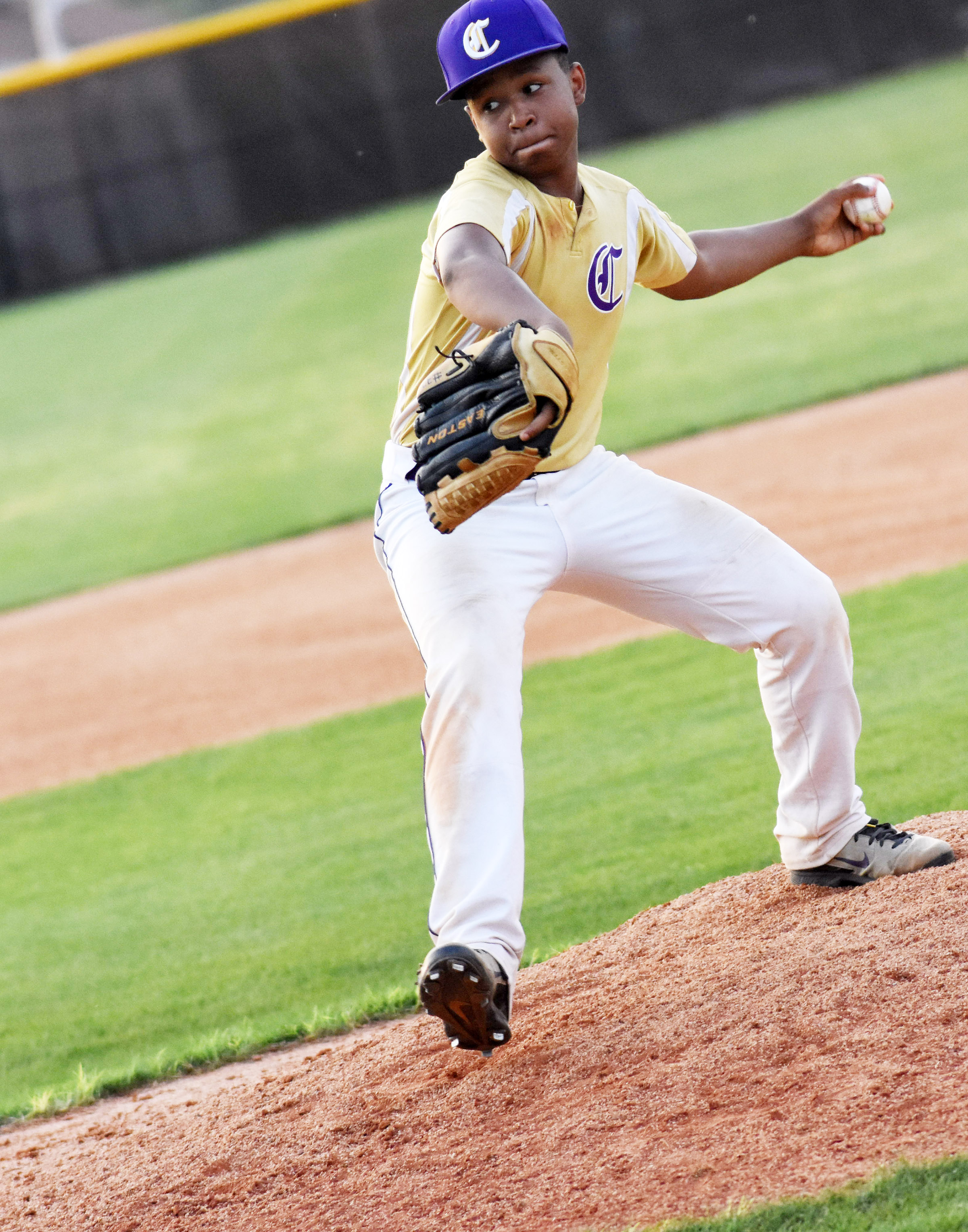 CMS seventh-grader Deondre Weathers pitches.
