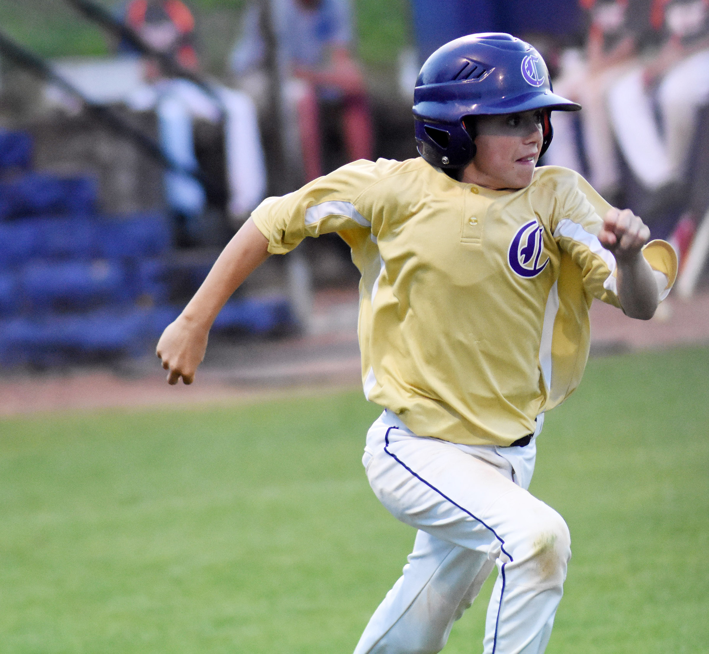 CMS seventh-grader Chase Hord runs to first.