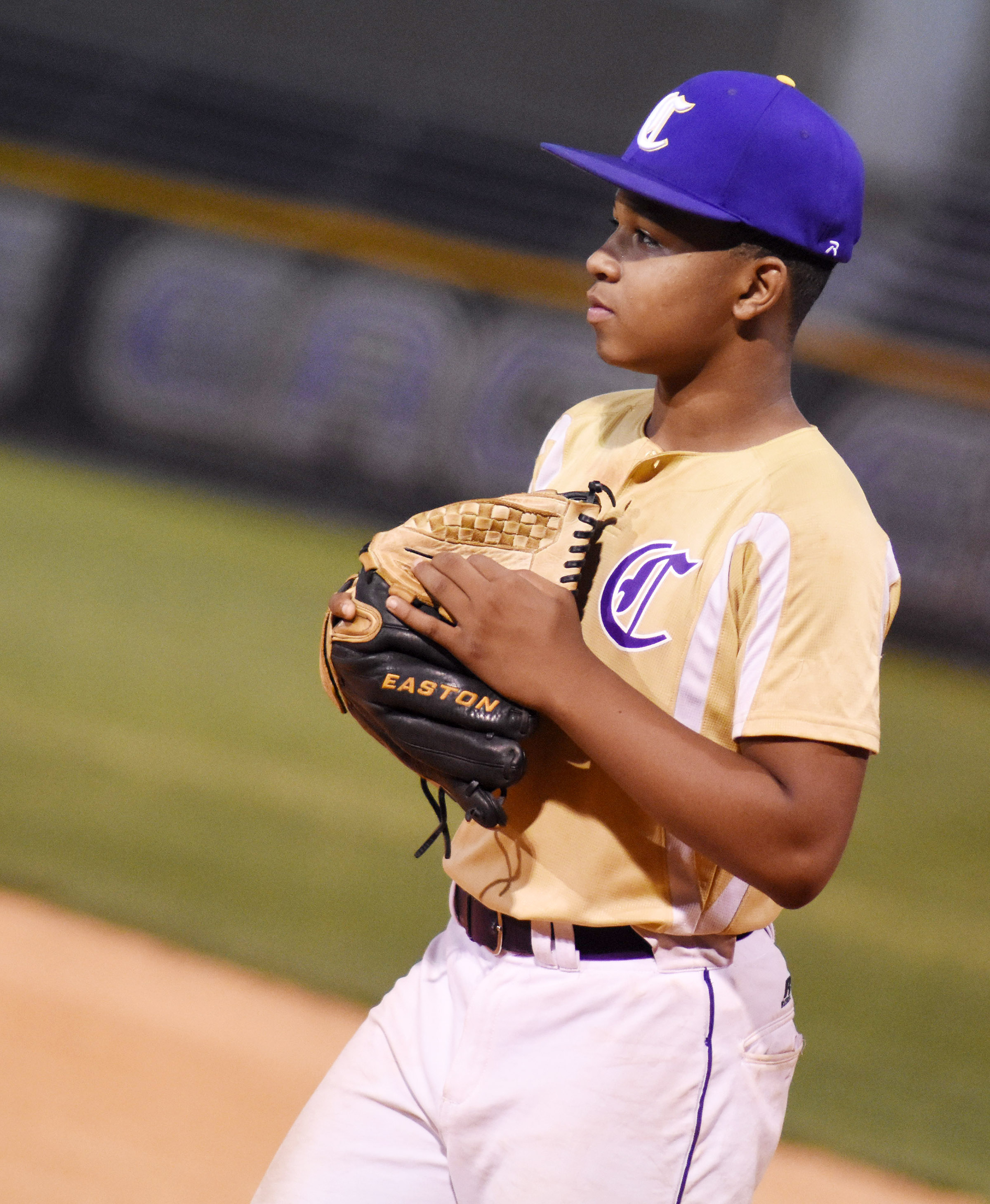 CMS seventh-grader Deondre Weathers mans first base.