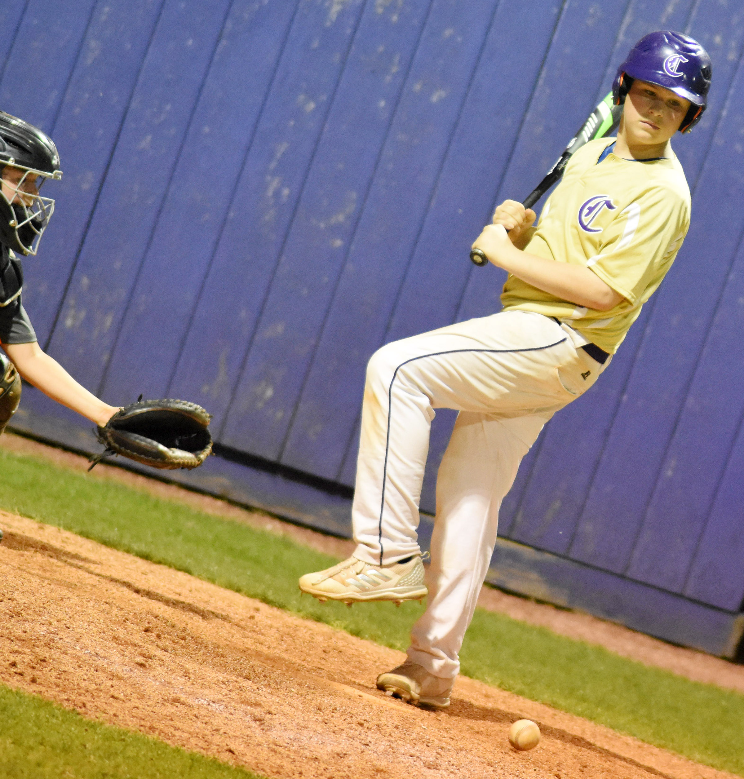 CMS seventh-grader Weston Mattingly is hit by a pitch.