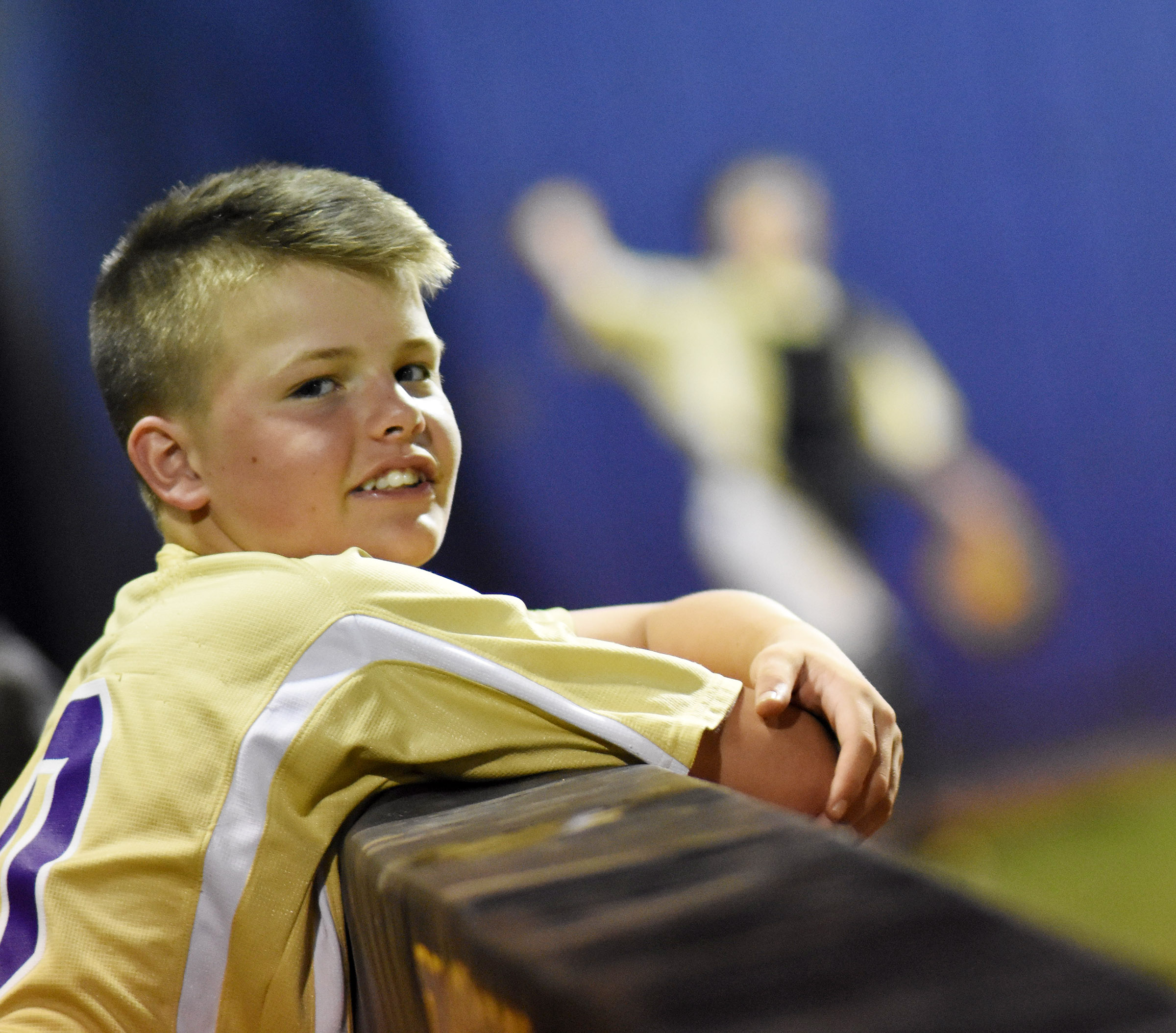 CMS seventh-grade Konner Forbis watches as his teammates bat.