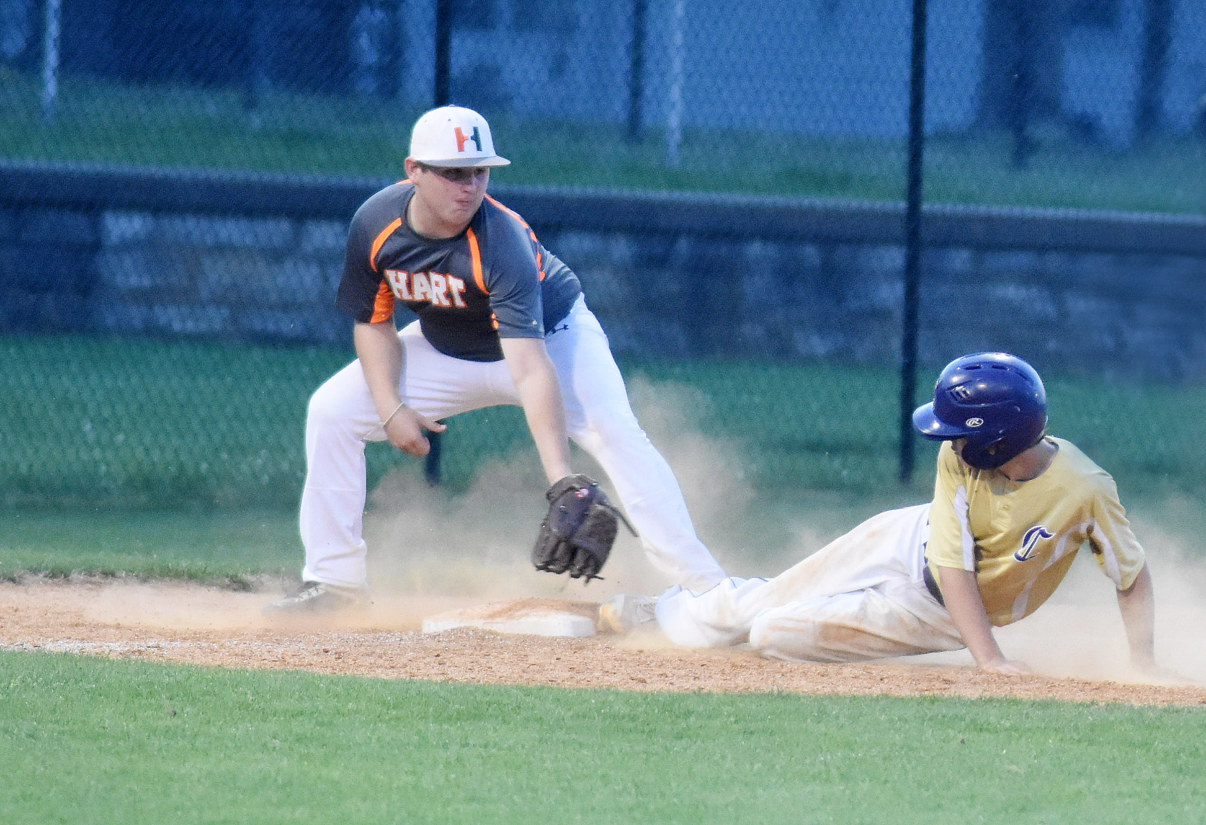 CMS eighth-grader Jarred Mayes is safe at third.
