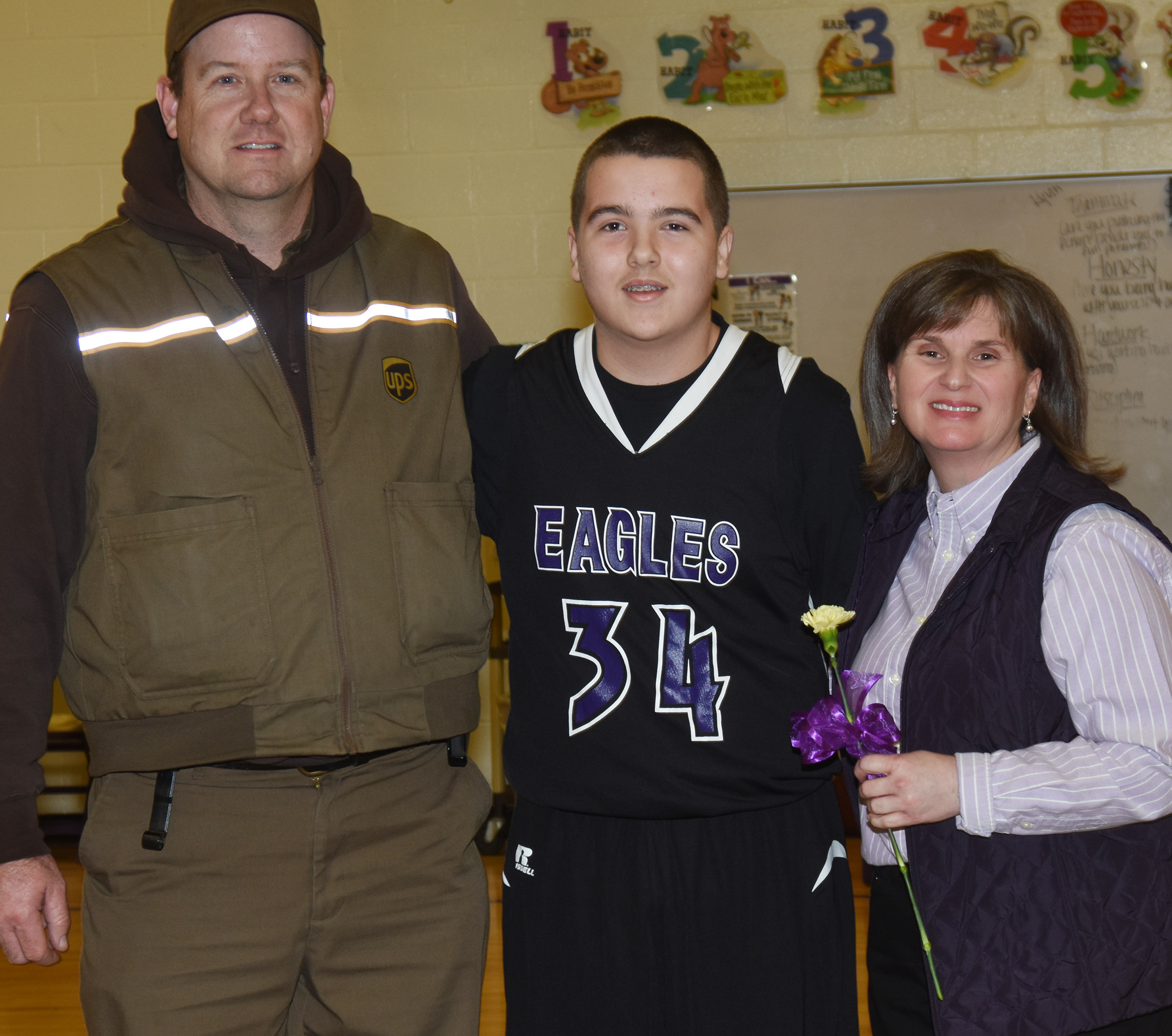CMS boys' basketball eighth-grader Jack Sabo is honored.