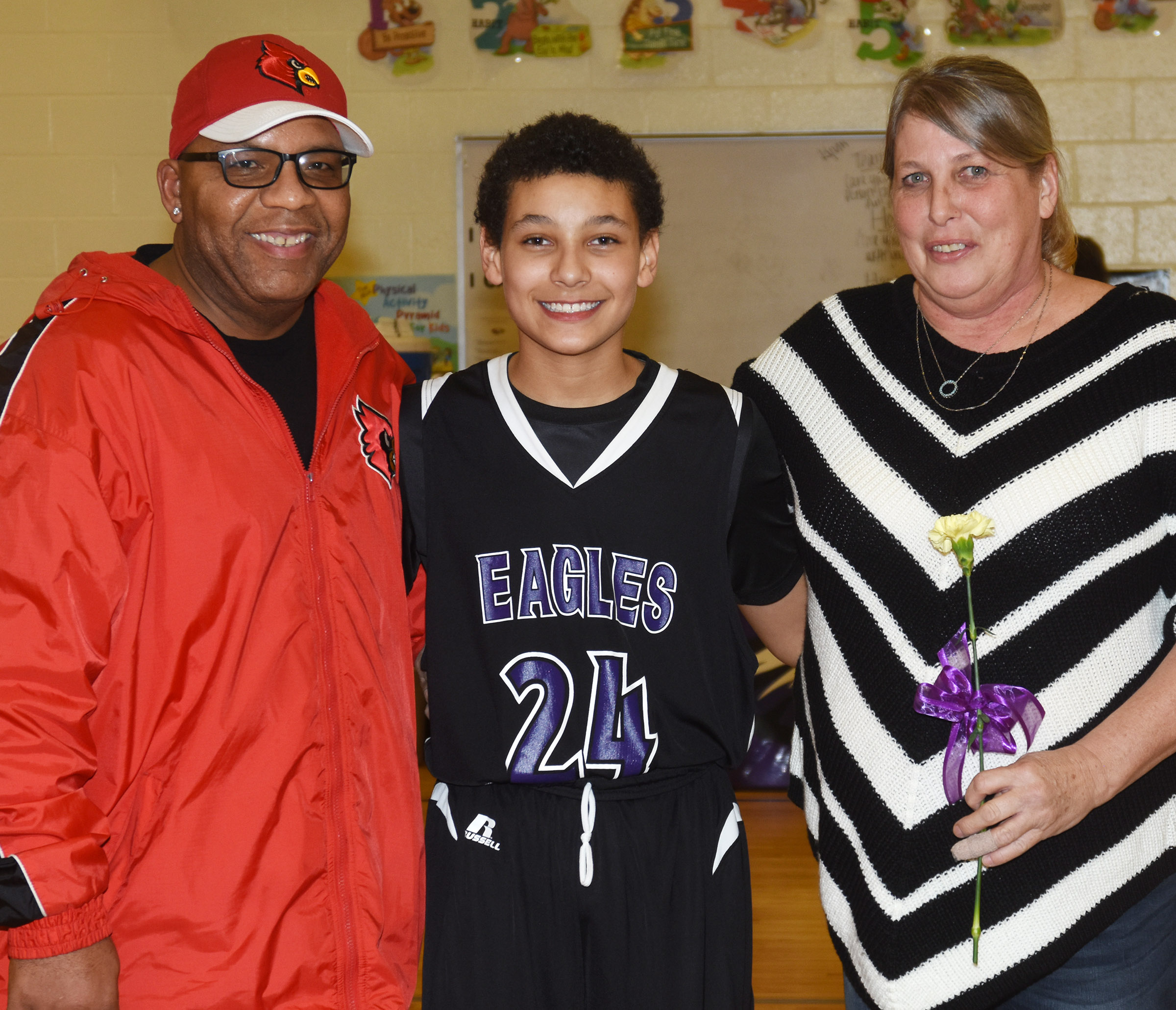 CMS boys' basketball eighth-grader Brice Spaw is honored.