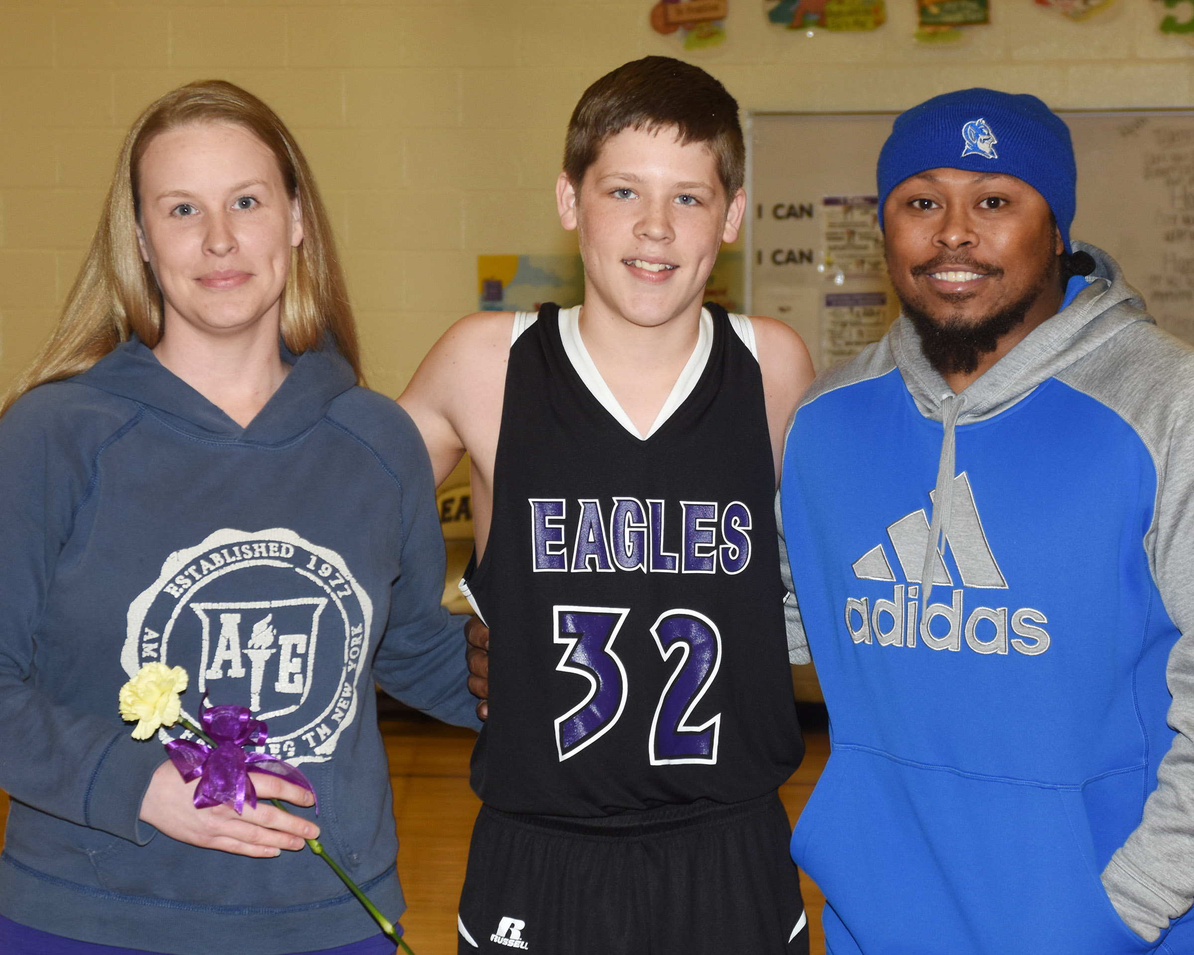CMS boys' basketball eighth-grader Josh Lucas is honored.