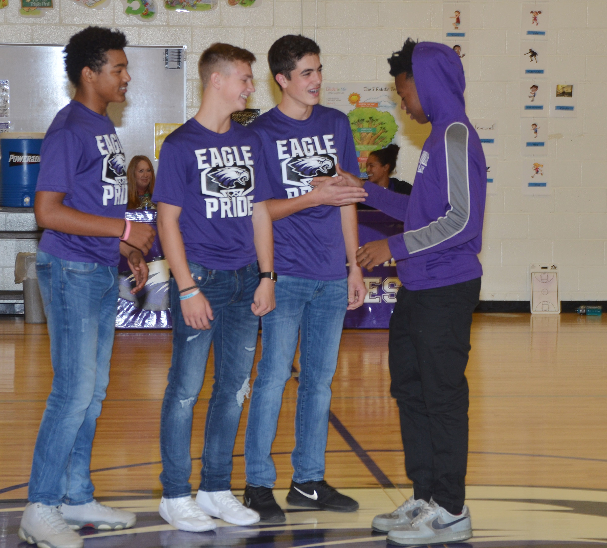 From left, Campbellsville High School freshmen Reggie Thomas, Blase Wheatley, Kameron Smith and Sae'von Buckner are honored for being a part of the CMS undefeated 2016-2017 boys' basketball team that won the CKMSAC regular season and tournament championships.