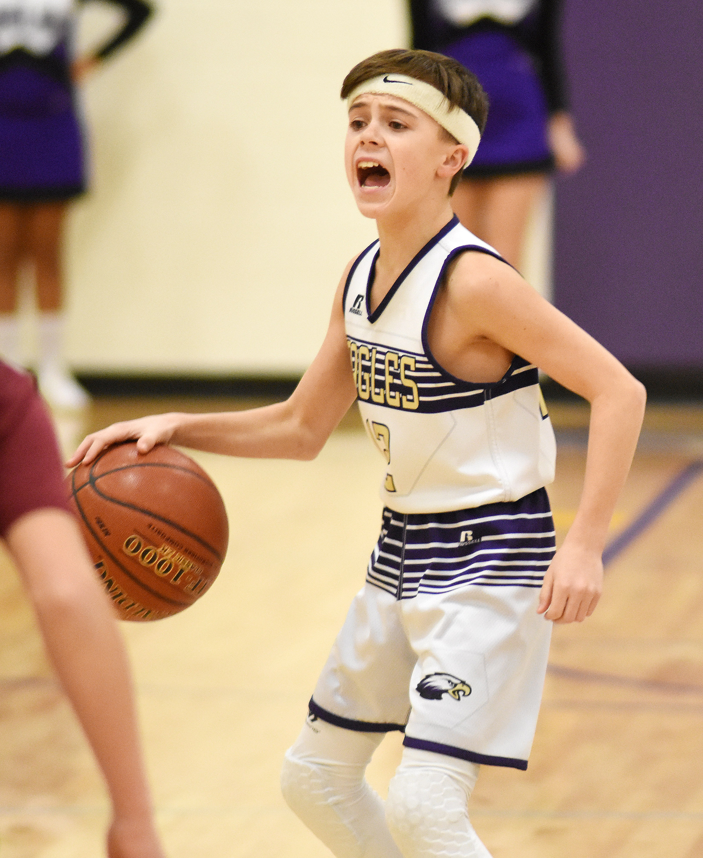 CMS seventh-grader Chase Hord calls a play.