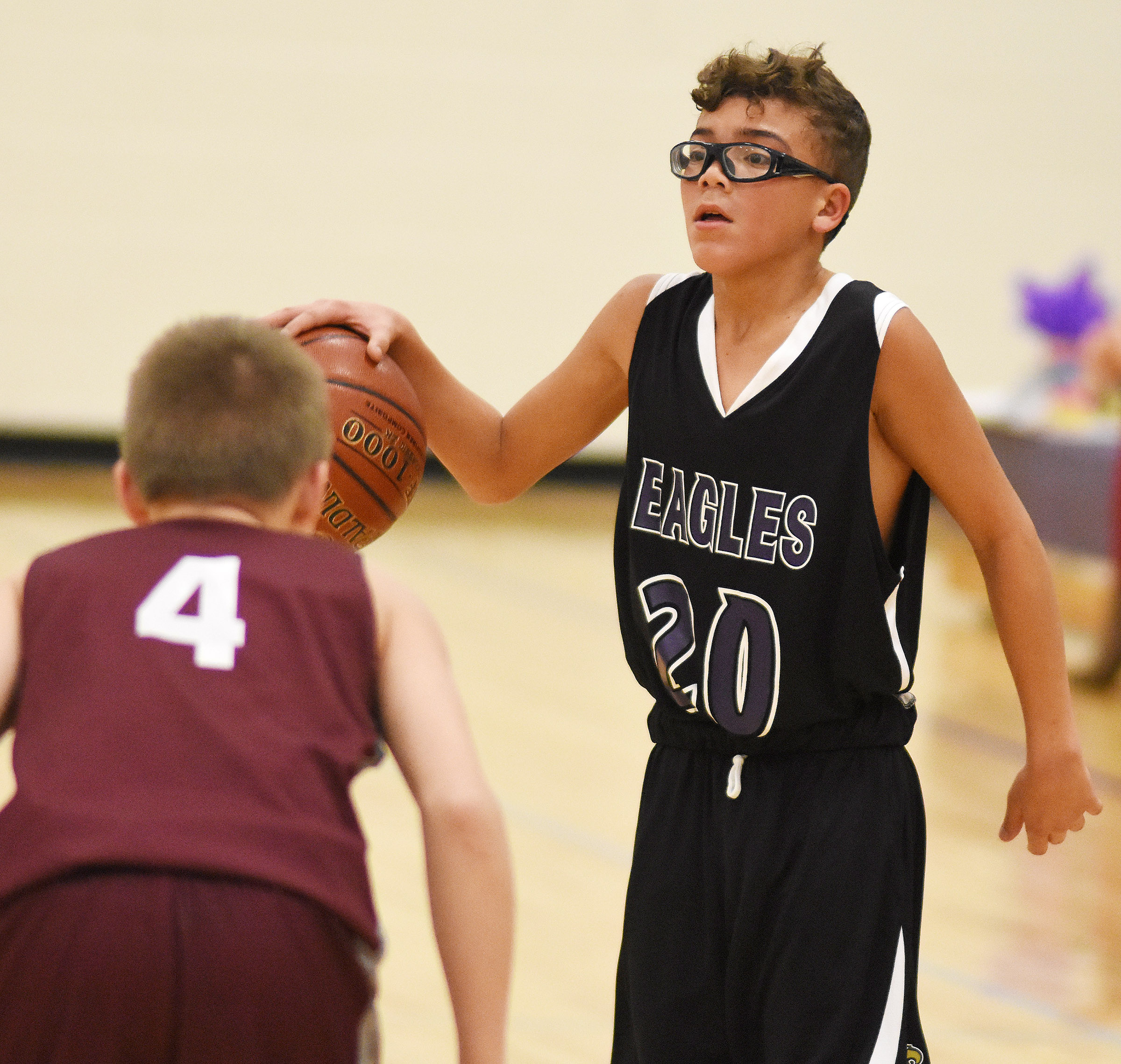 CMS eighth-grader Logan Phillips calls a play.