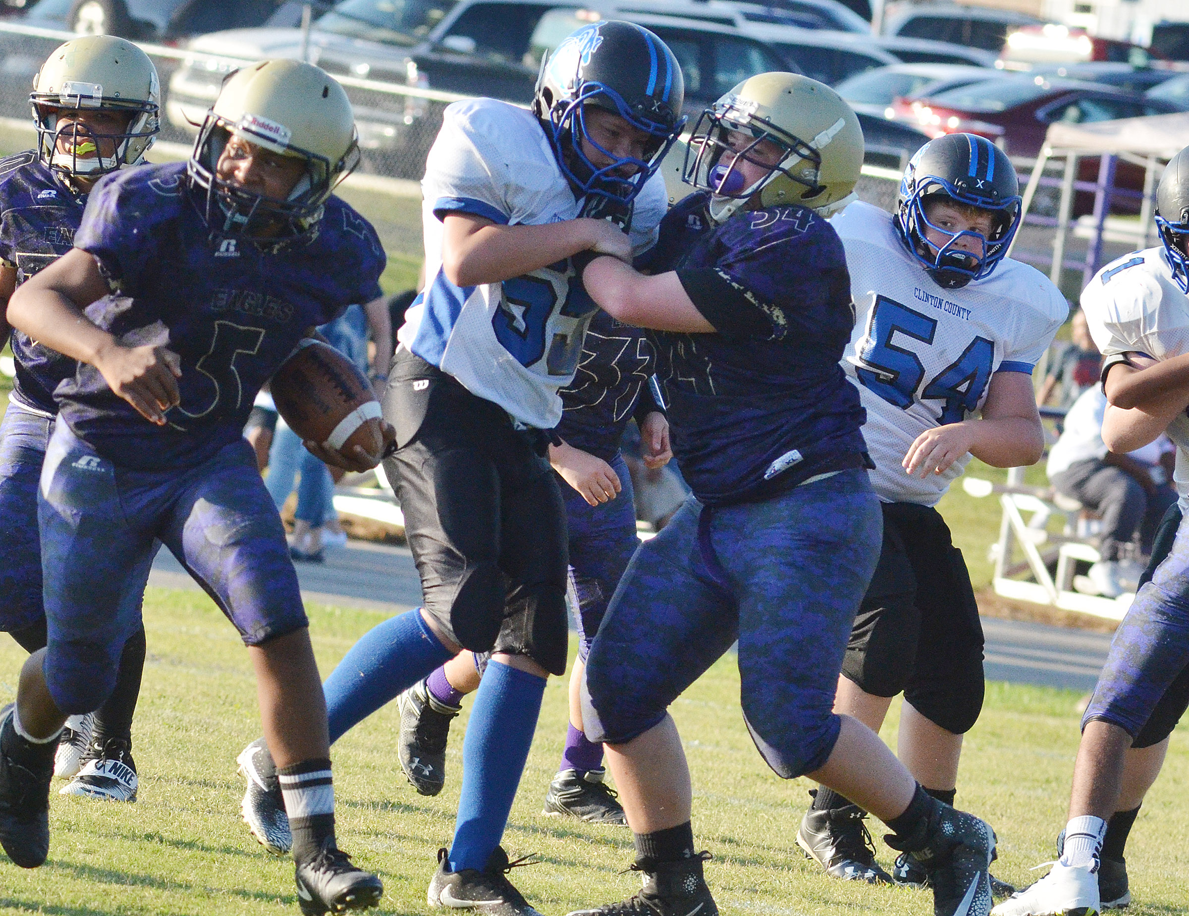 CMS seventh-grader Hayden Jones blocks.