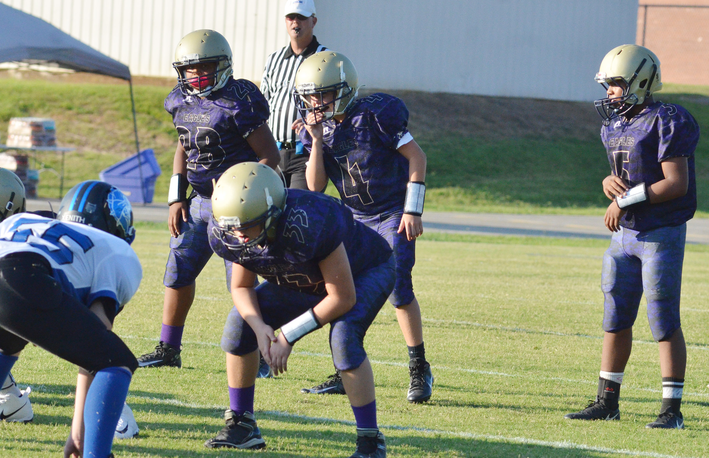 From left, CMS seventh-graders Keondre Weathers, Konner Forbis and Deondre Weathers get ready for the play.