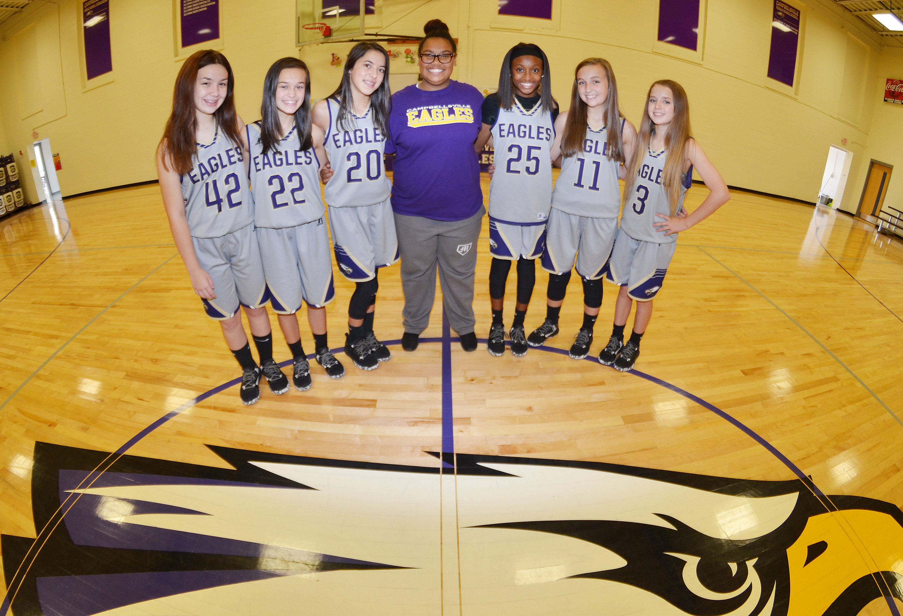 CMS girls' basketball eighth-grade players will be honored on Thursday, Oct. 12, at about 7:30 p.m. in the Campbellsville Elementary School gym. They are, from left, Olivia Fields, Tayler Thompson, Kaylyn Smith, Brae Washington, Bri Gowdy, Lainey Watson and Rylee Petett.