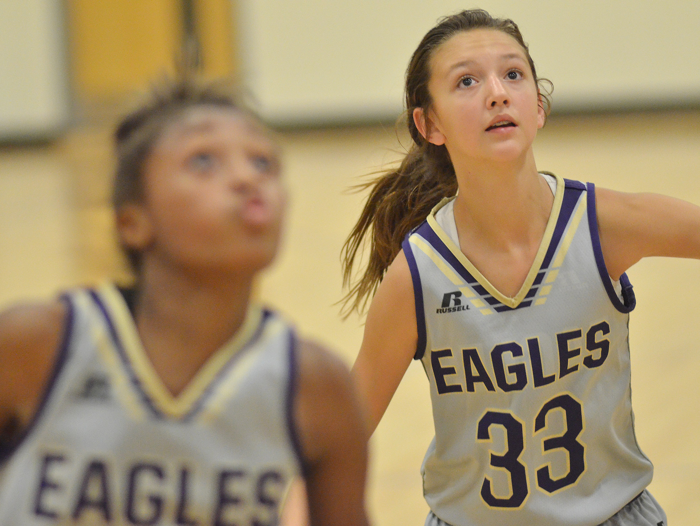 CMS seventh-grader Bri Hayes looks for a rebound.
